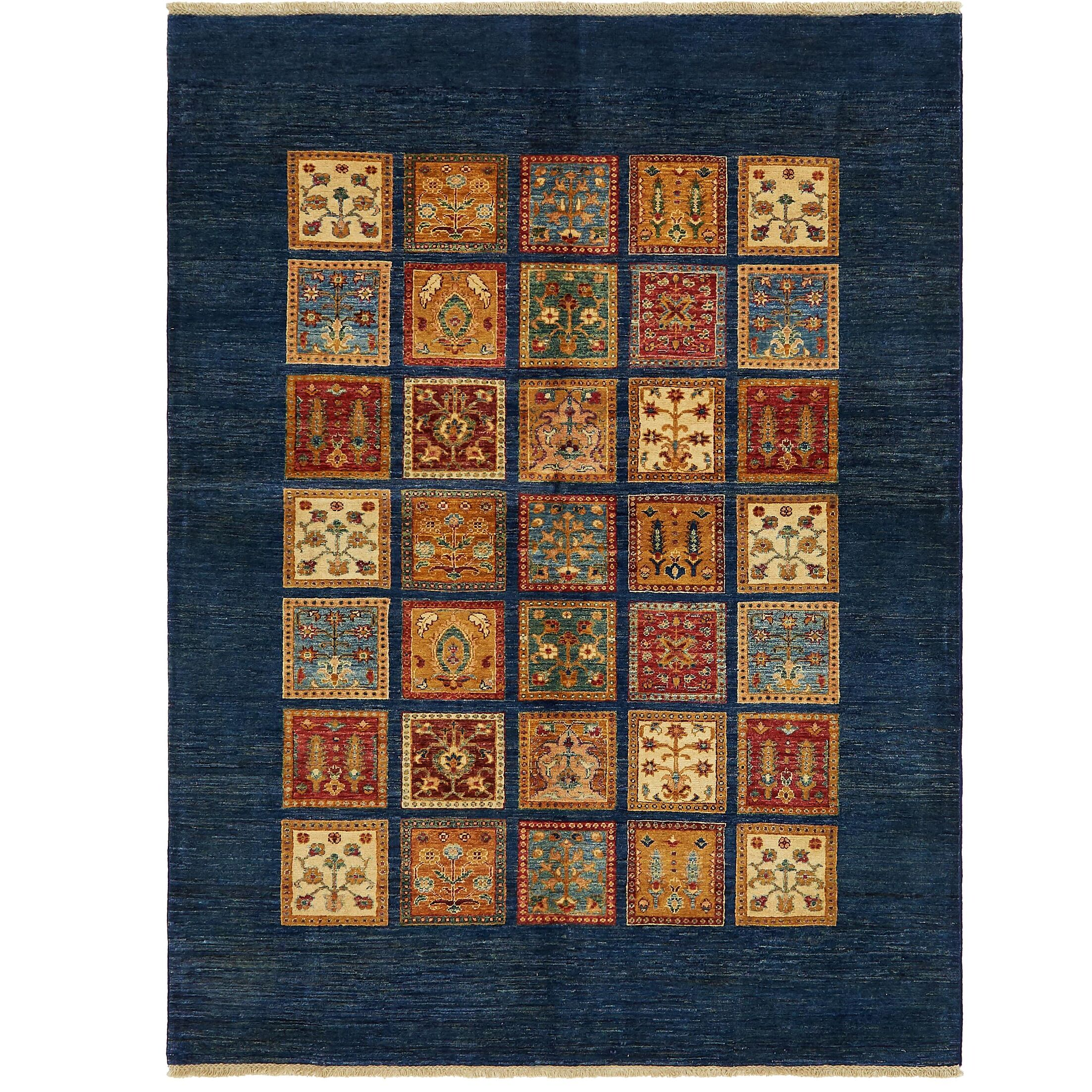 One-of-a-Kind Denver Hand-Knotted Wool Navy Blue Area Rug