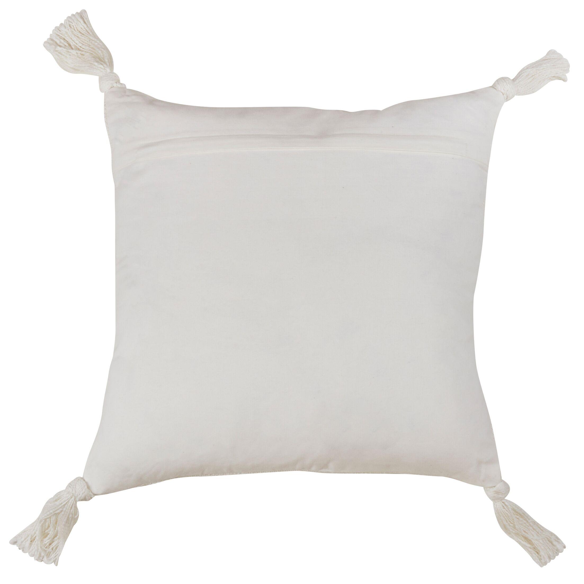 Zemple Tasseled Design Cotton Throw Pillow Size: 20x20, Color: Natural