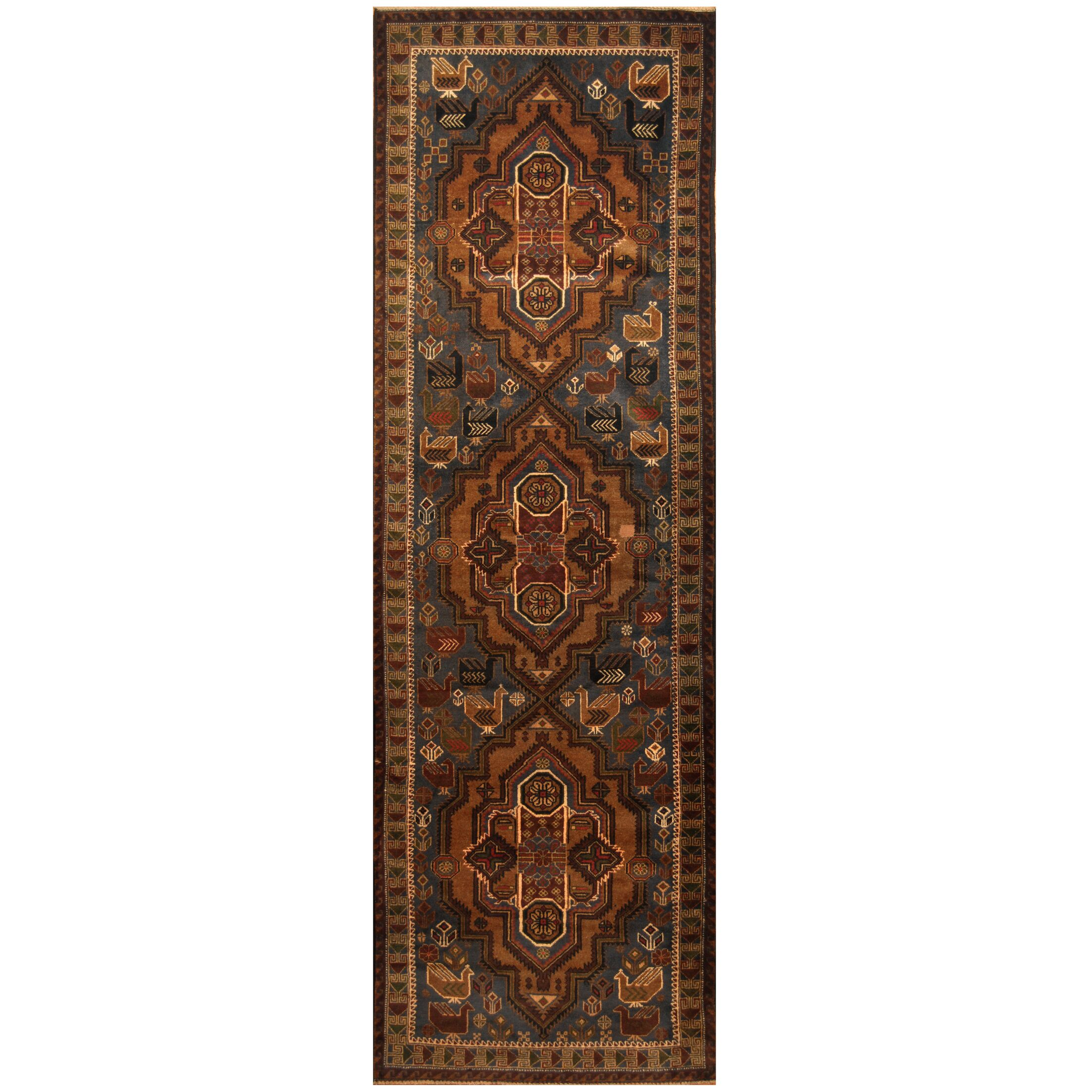 One-of-a-Kind Prentice Hand-Knotted Wool Navy/Brown Area Rug