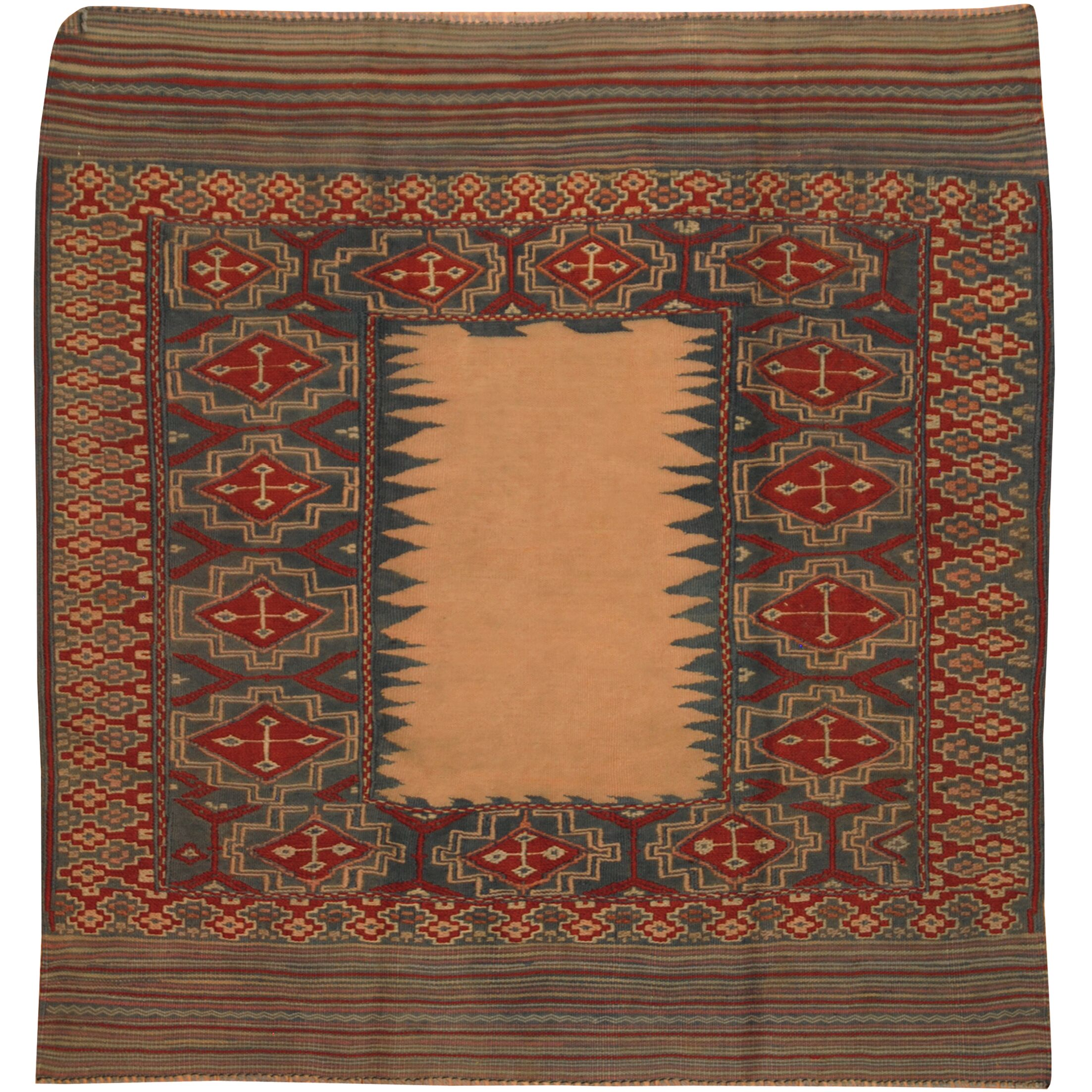 One-of-a-Kind Prentice Hand-Knotted Wool Blue/Red Area Rug