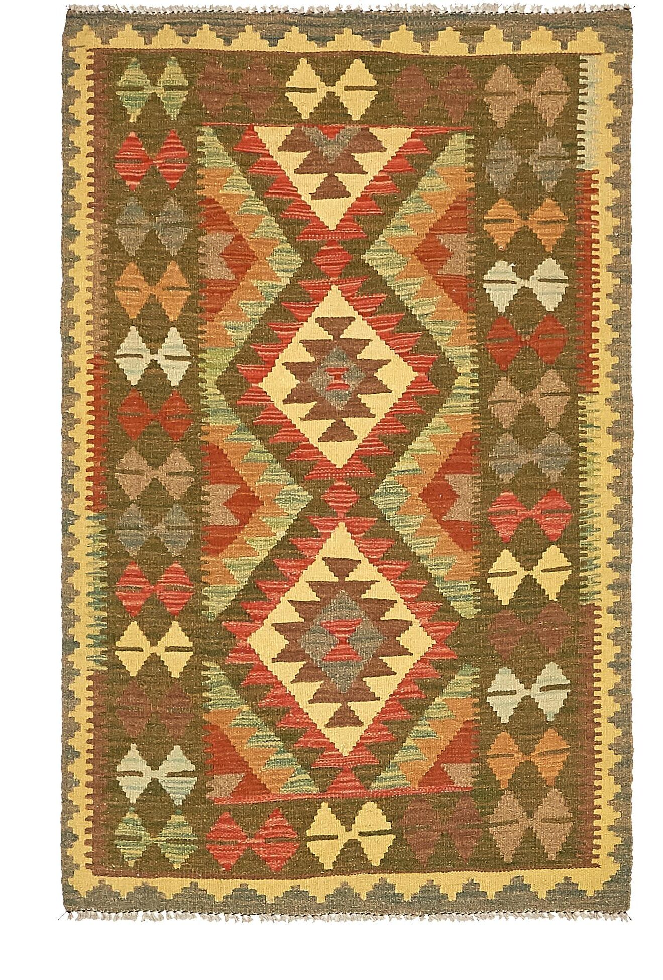 One-of-a-Kind Doorfield Hand-Knotted Wool 3' x 5' Green/Beige/Brown Area Rug
