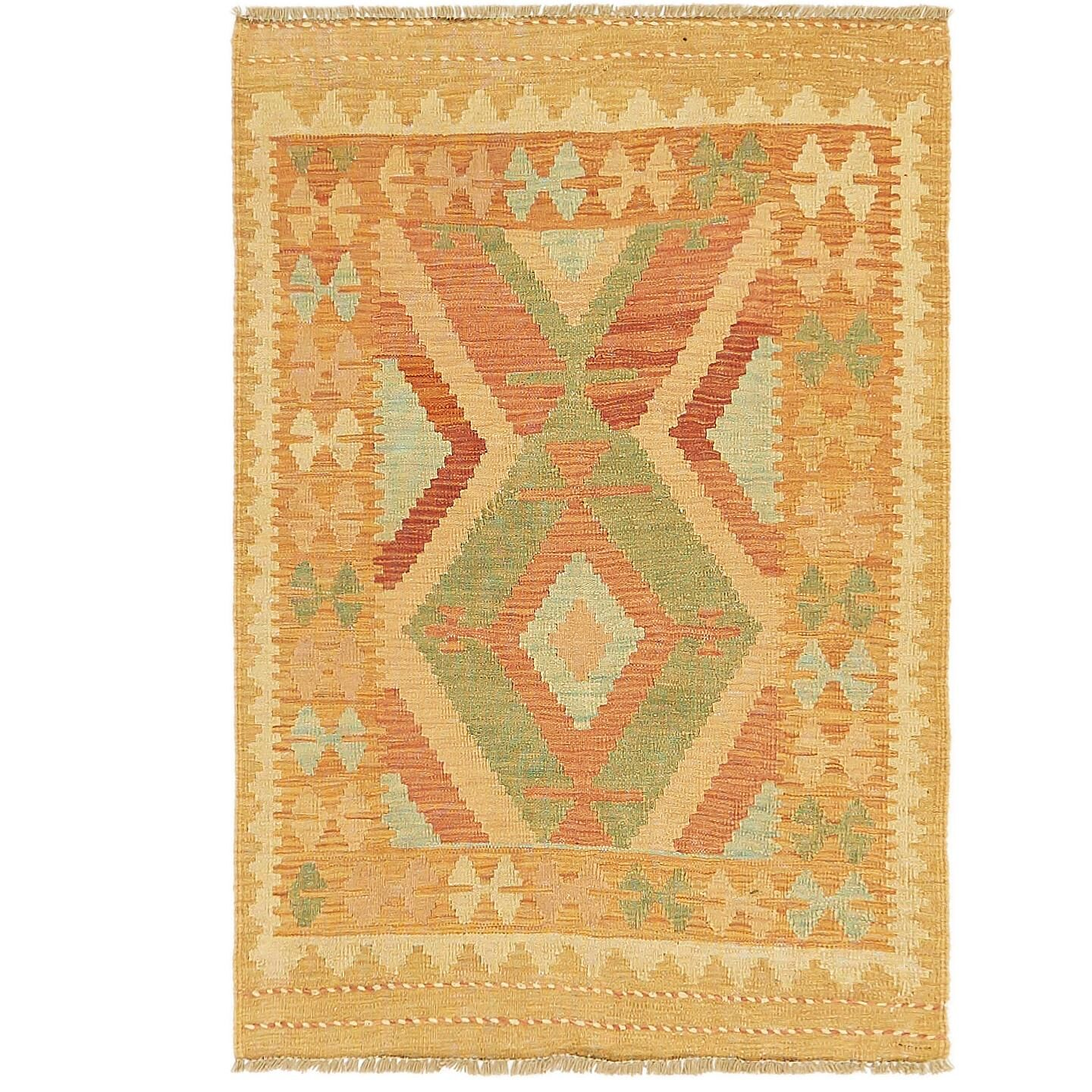 One-of-a-Kind Elland Hand-Knotted Wool Gold/Red Area Rug