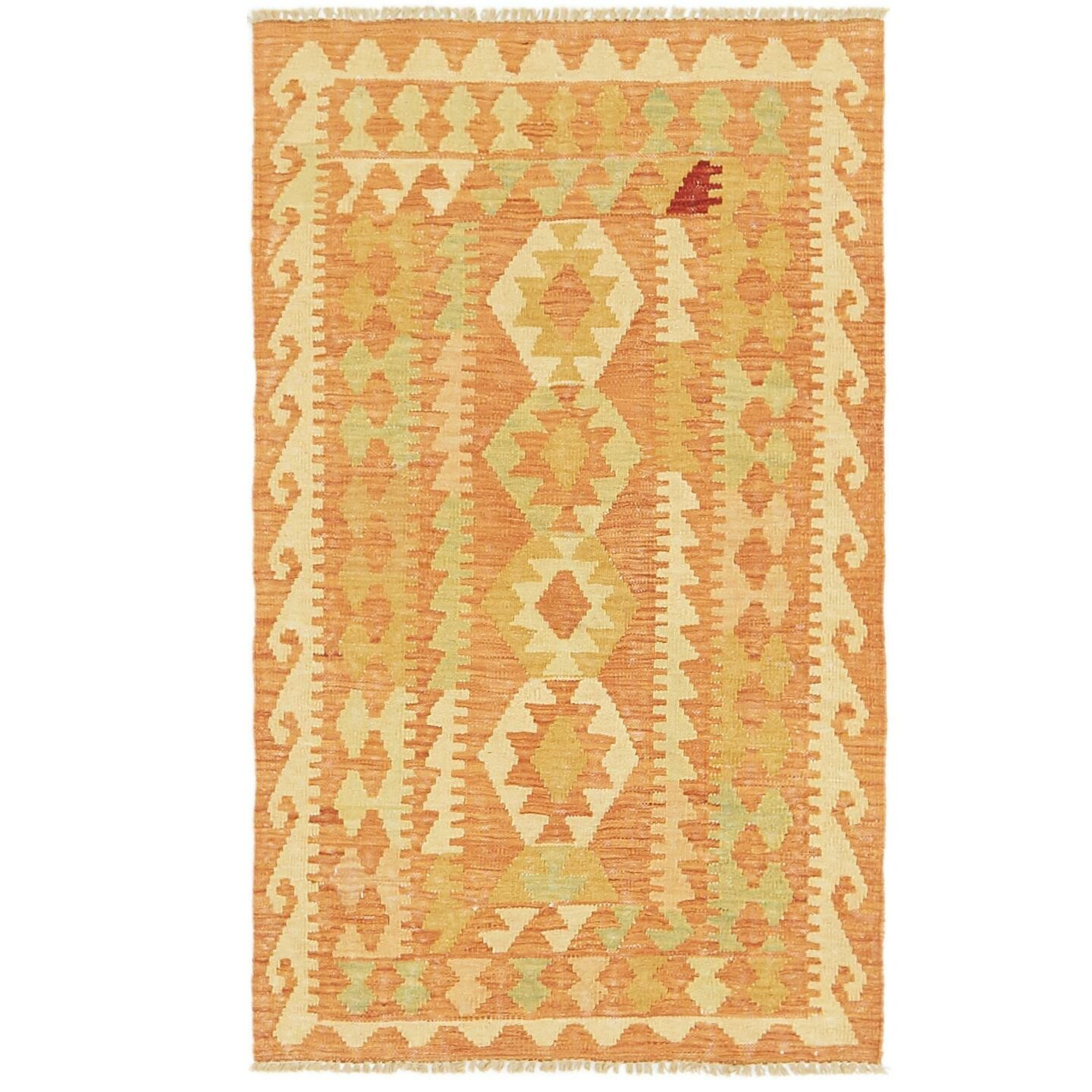 One-of-a-Kind Elland Hand-Knotted Wool Peach Area Rug