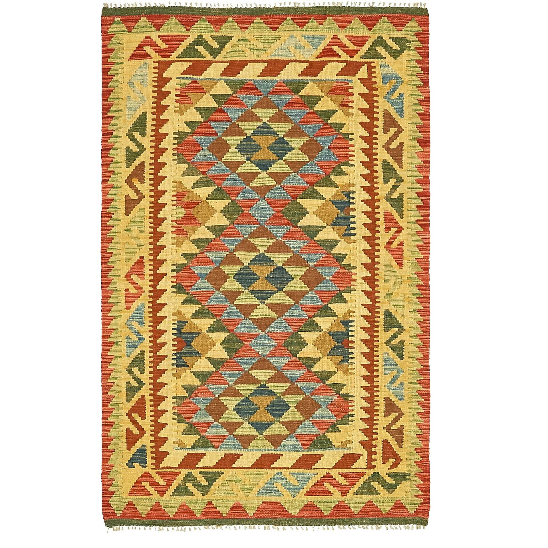 One-of-a-Kind Doorfield Hand-Knotted Wool 3' x 5' Yellow/Green/Red Area Rug