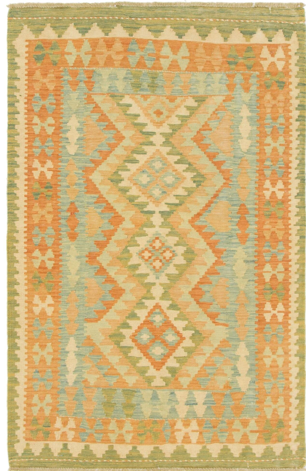 One-of-a-Kind Elland Hand-Knotted Wool Green/Brown Area Rug