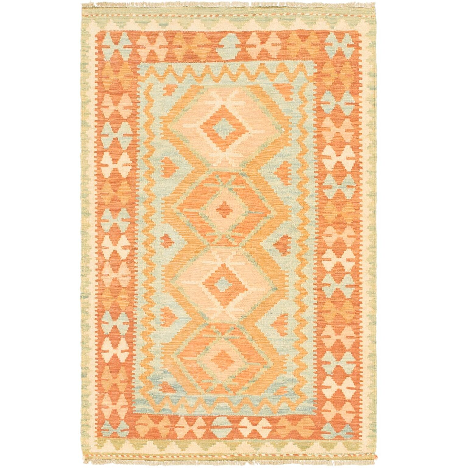 One-of-a-Kind Elland Hand-Knotted Wool Rusty Area Rug