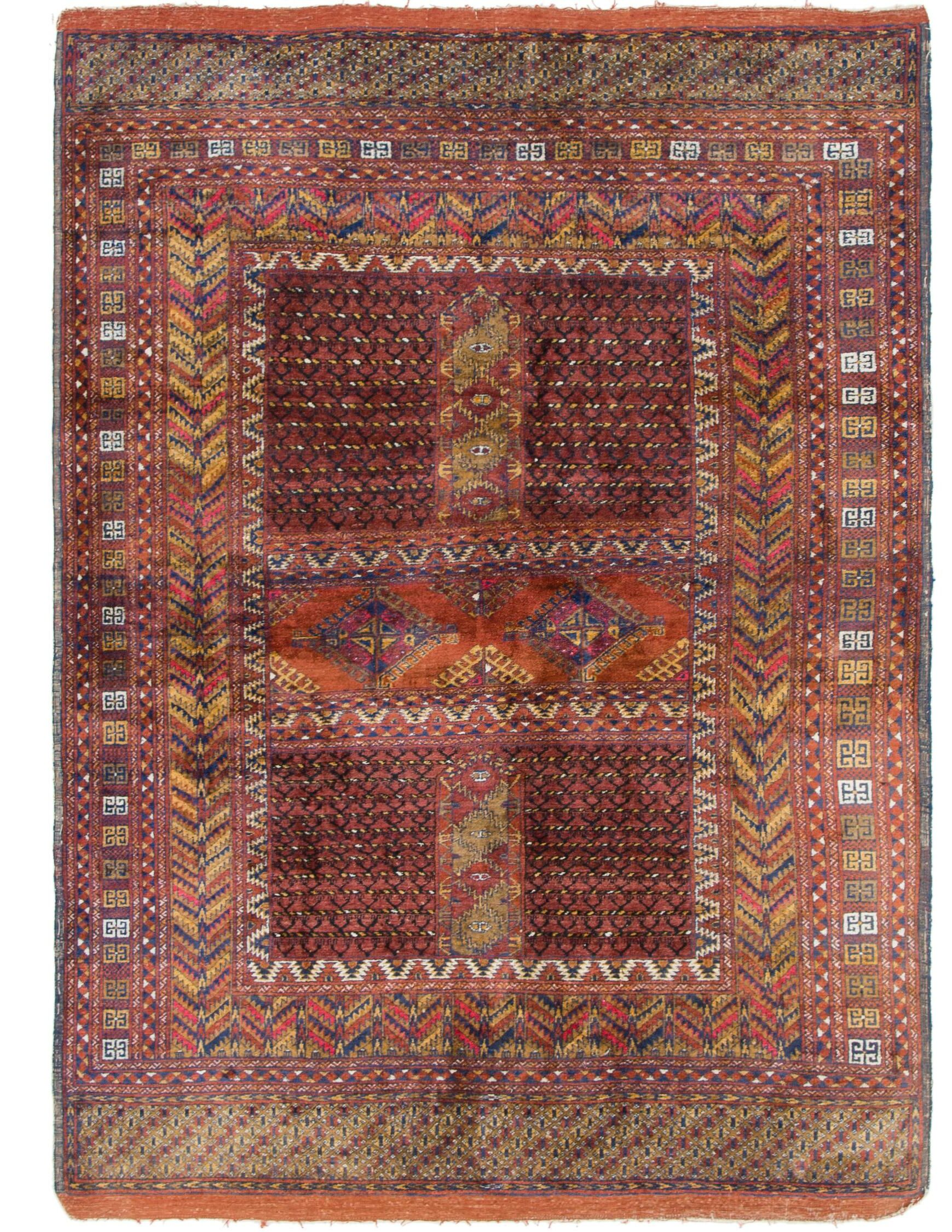 One-of-a-Kind Tekke Hand-Knotted Wool Silk Burgundy Area Rug
