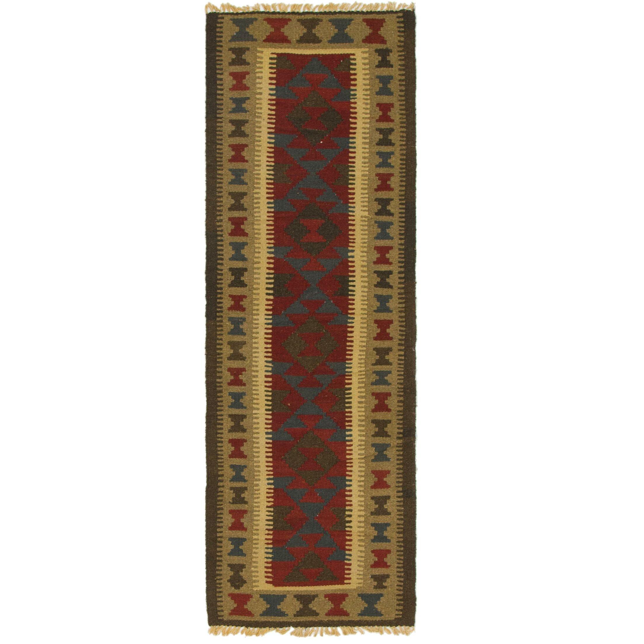 One-of-a-Kind Weybridge Kilim Maymana Hand-Knotted Wool 2' x 6'4