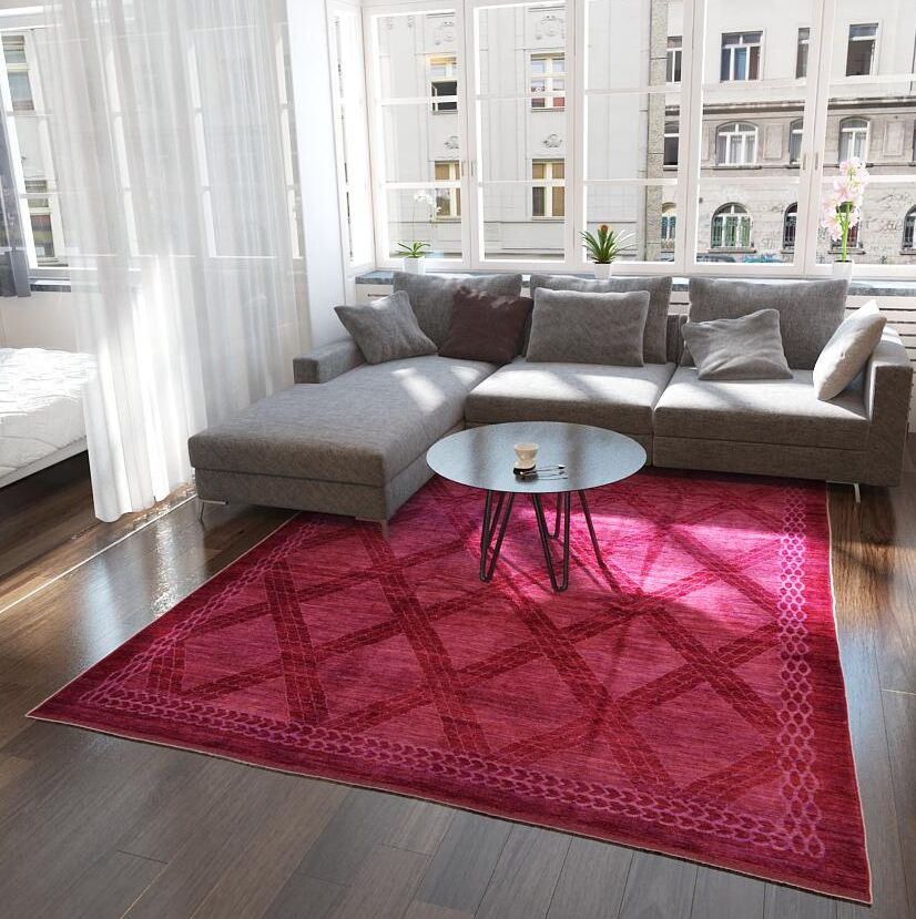 One-of-a-Kind Easton Hand-Knotted Wool Burgundy Area Rug