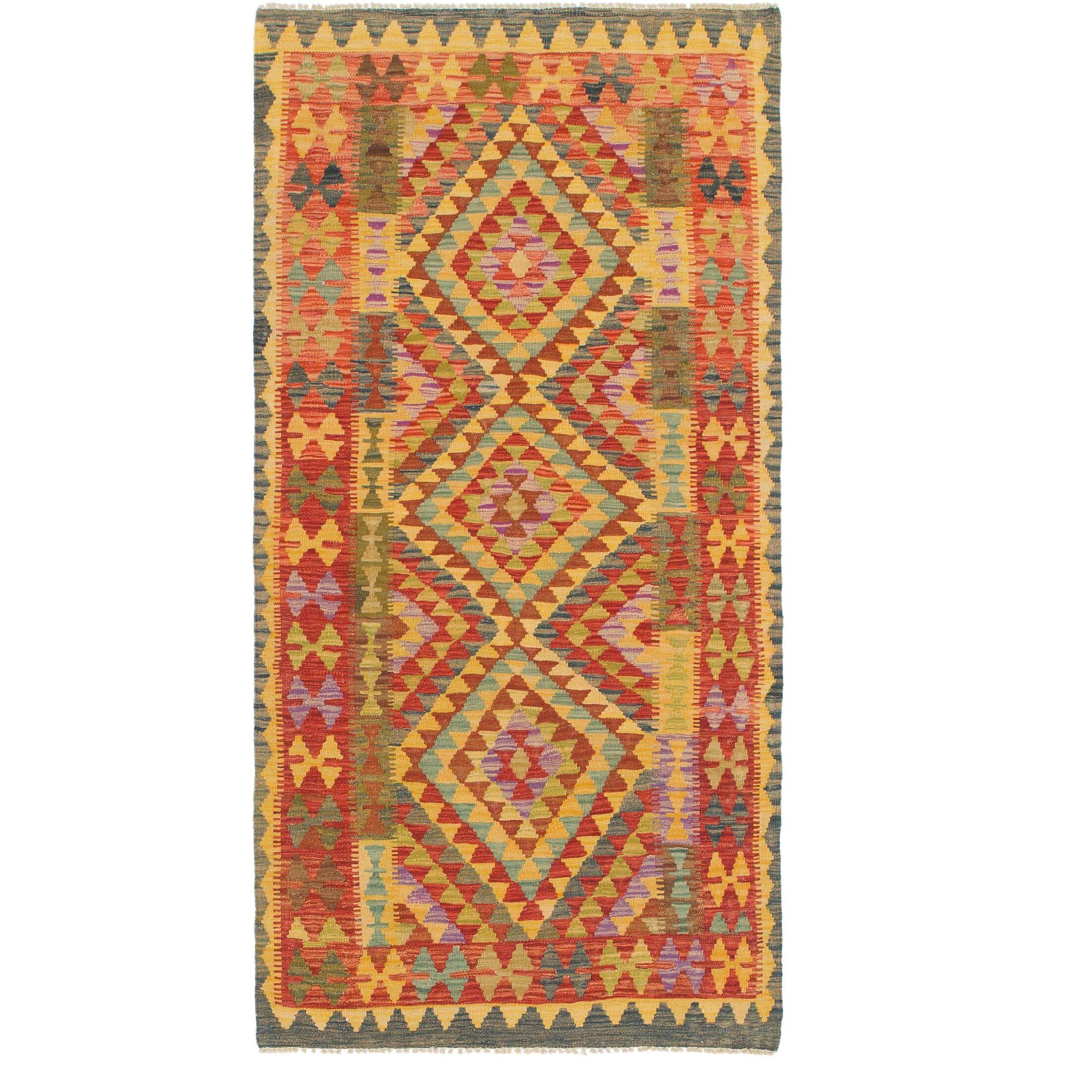 One-of-a-Kind Wivenhoe Kilim Maymana Hand-Knotted Wool 3'3