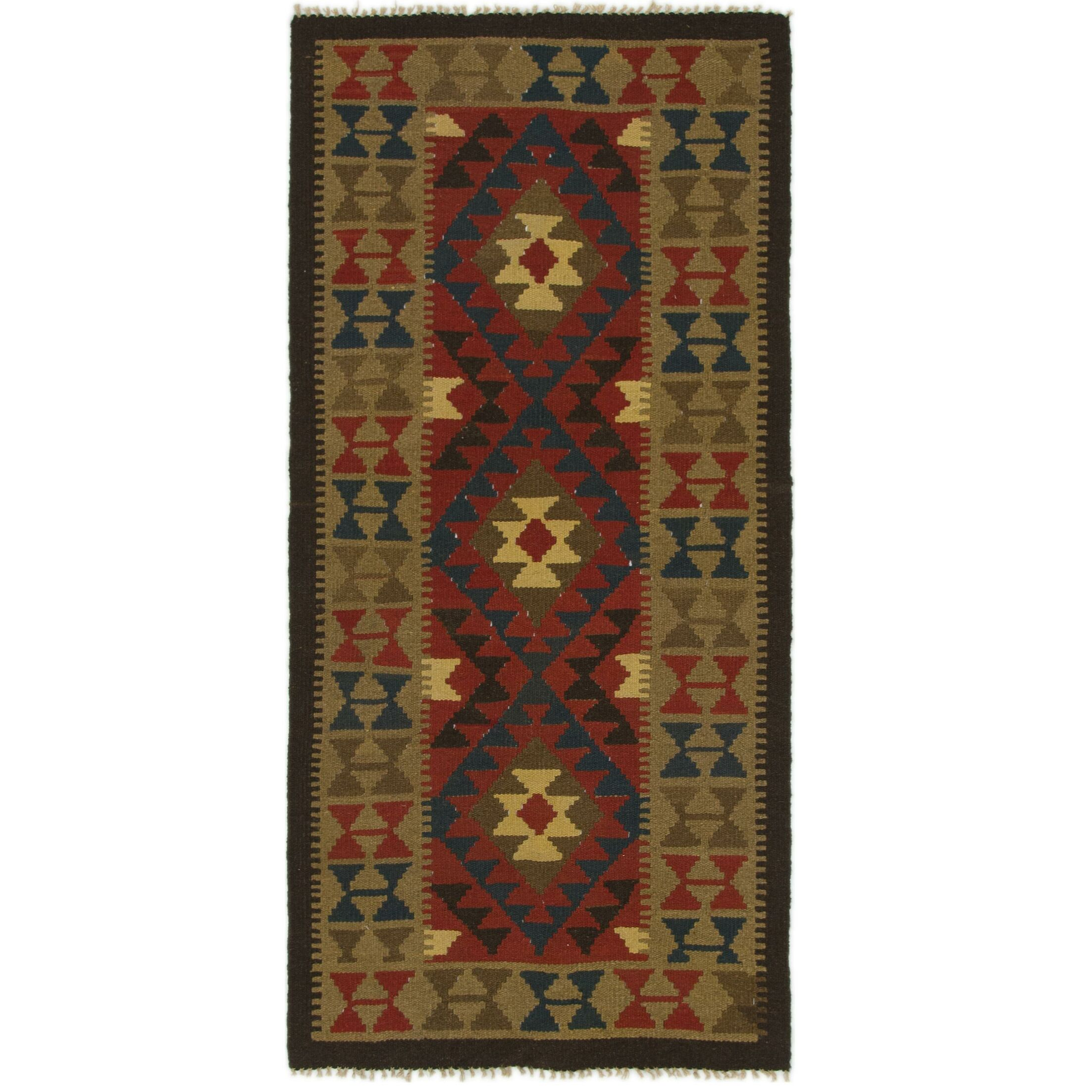 One-of-a-Kind Shropshire Kilim Maymana Hand-Knotted Wool 3'2