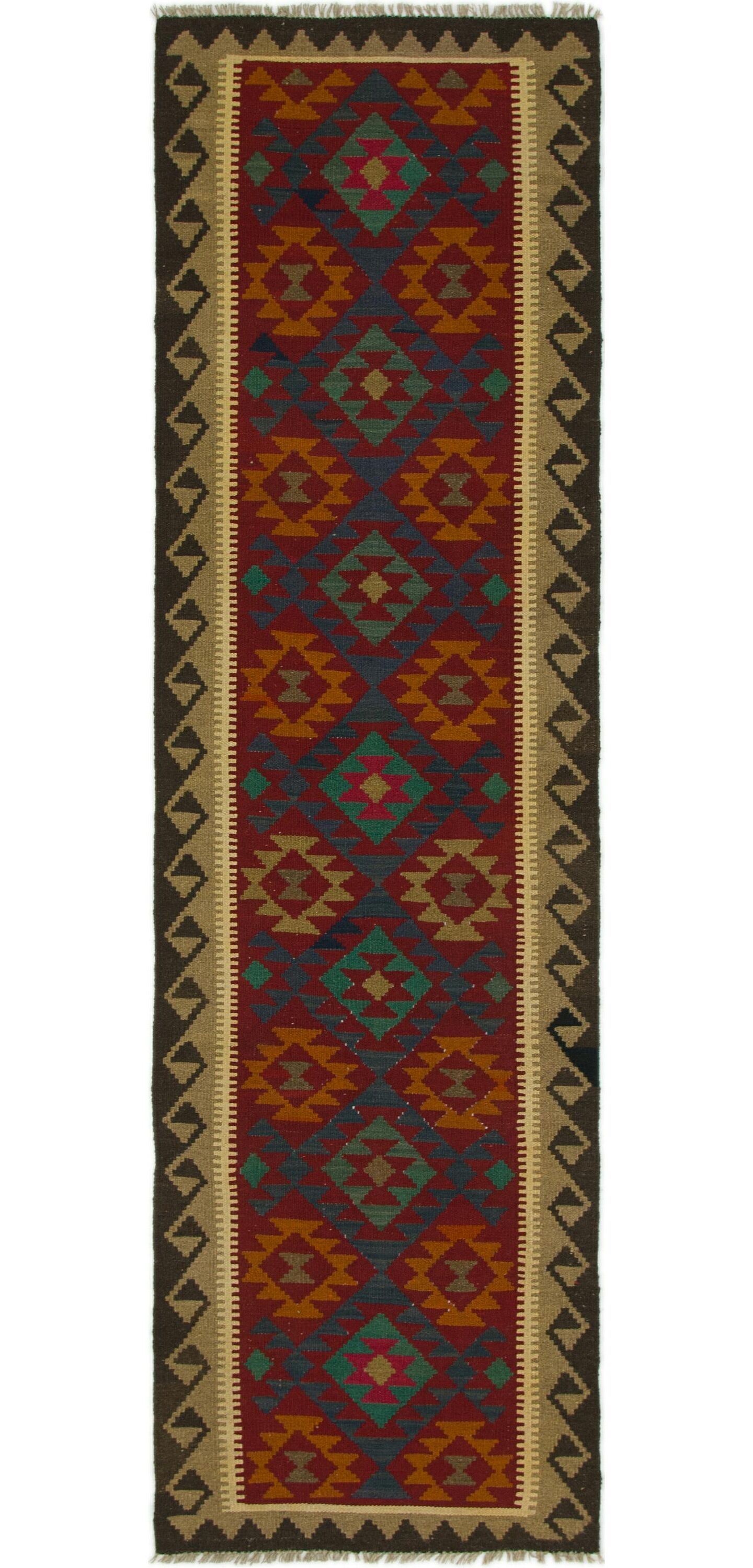One-of-a-Kind Bedfordshire Kilim Maymana Hand-Knotted Wool 2'10