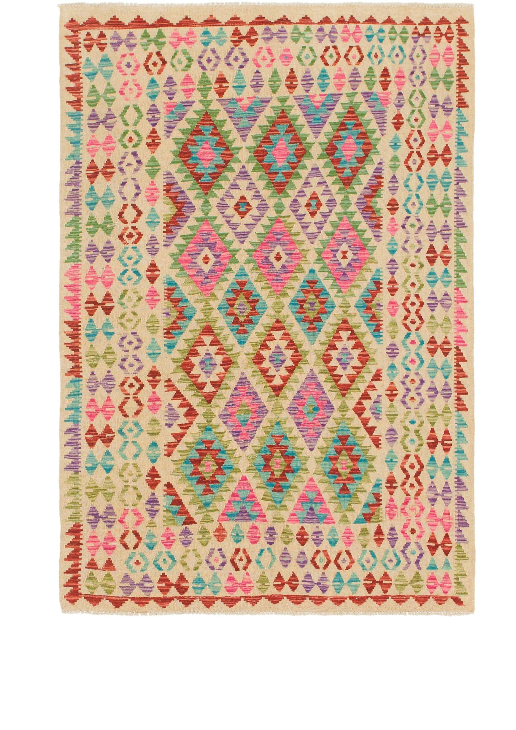 One-of-a-Kind Doorfield Hand-Knotted Wool 4' x 6' Beige/Green/Brown Area Rug