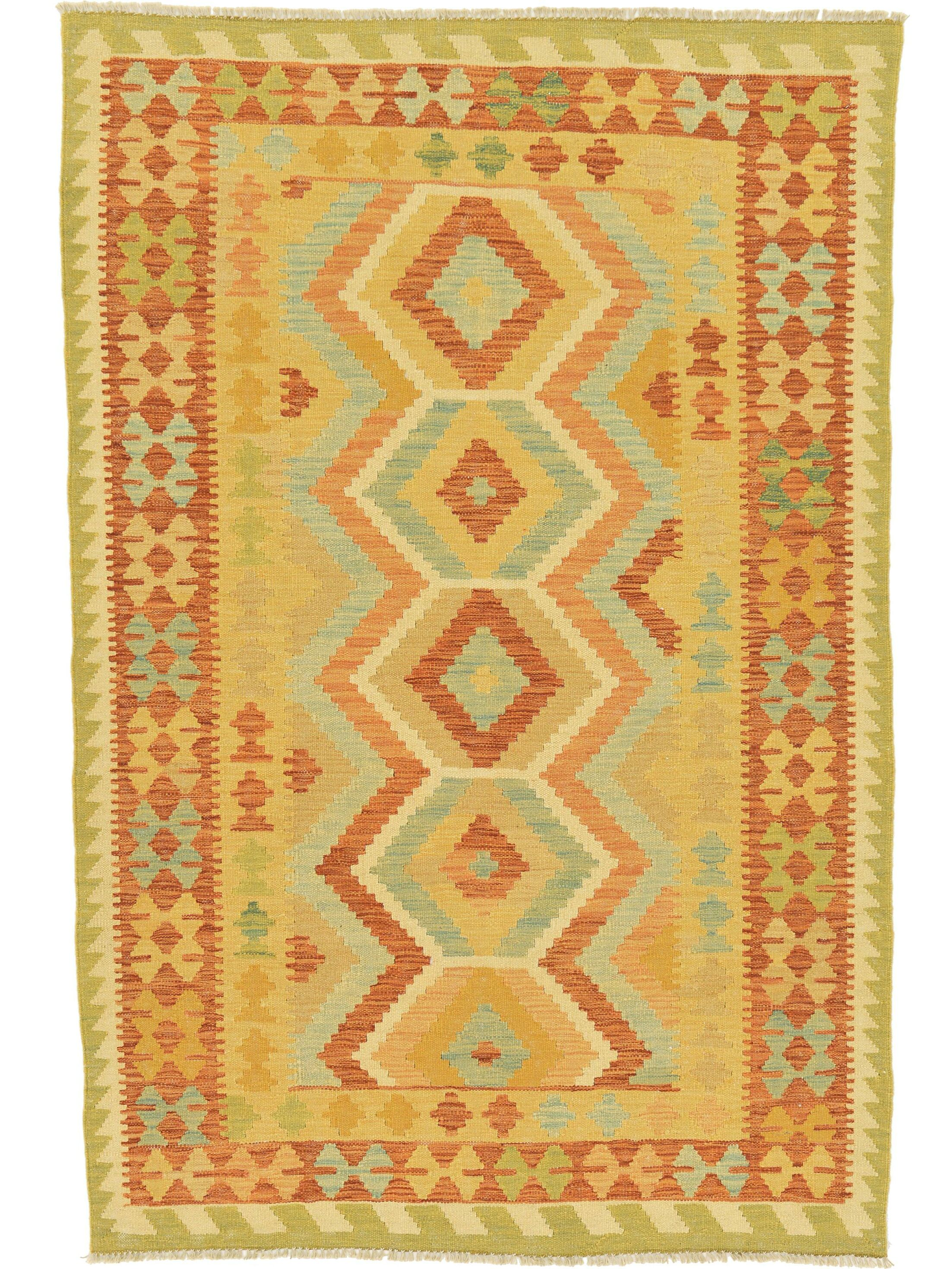 One-of-a-Kind Elland Hand-Knotted Wool Tan/Yellow/Blue Area Rug