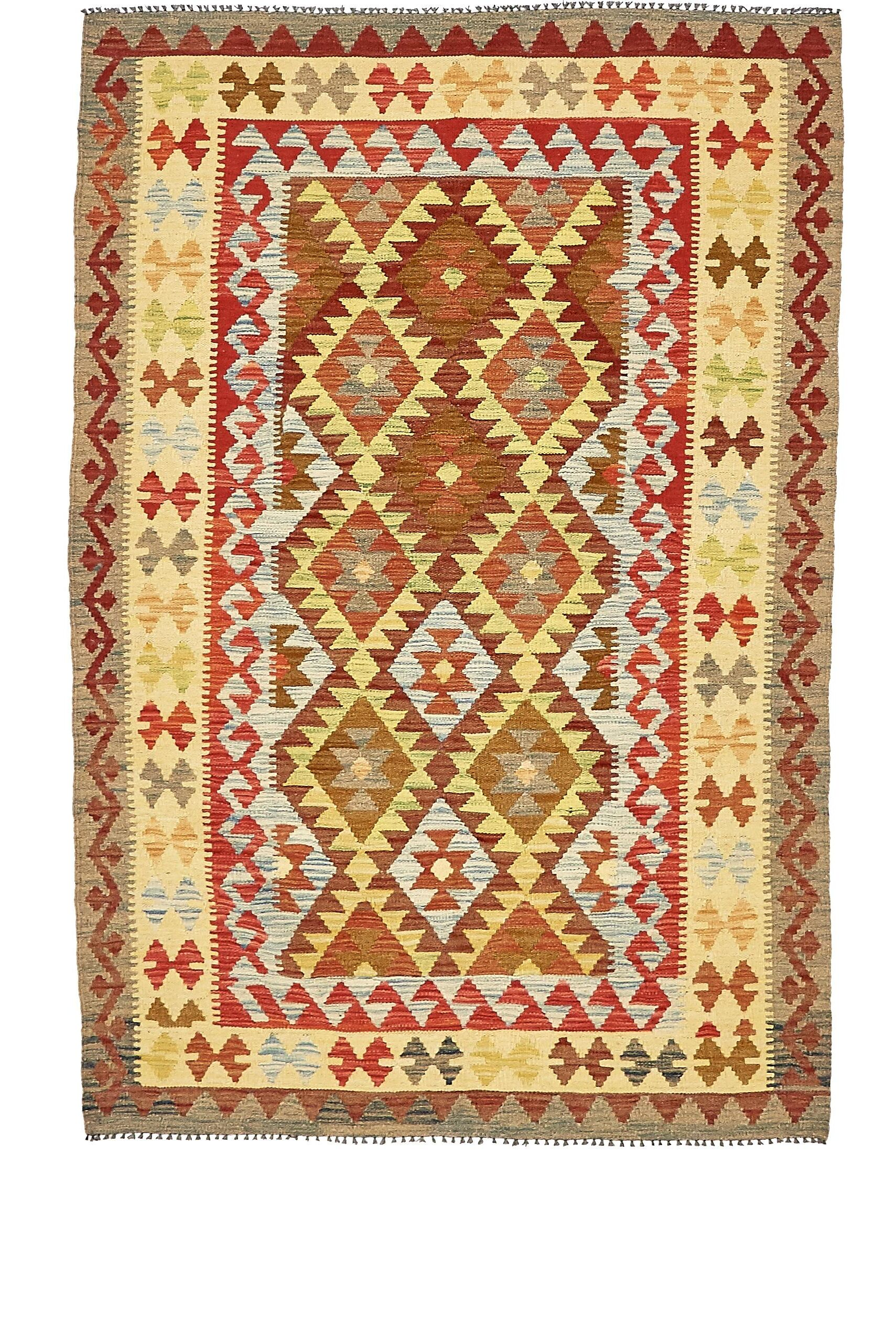 One-of-a-Kind Doorfield Hand-Knotted Wool 4' x 6' Brown/Beige/Green Area Rug