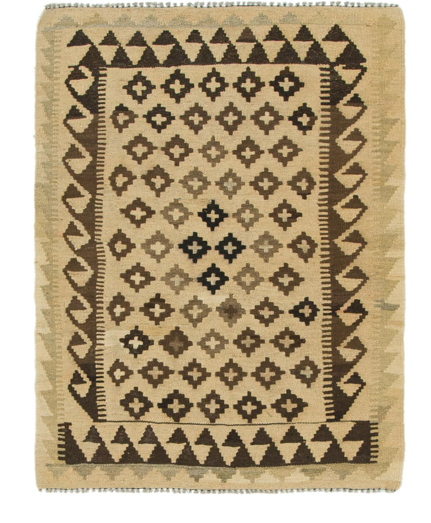 One-of-a-Kind Lorain Hand-Knotted Wool 3' x 4' Cream/Brown Area Rug