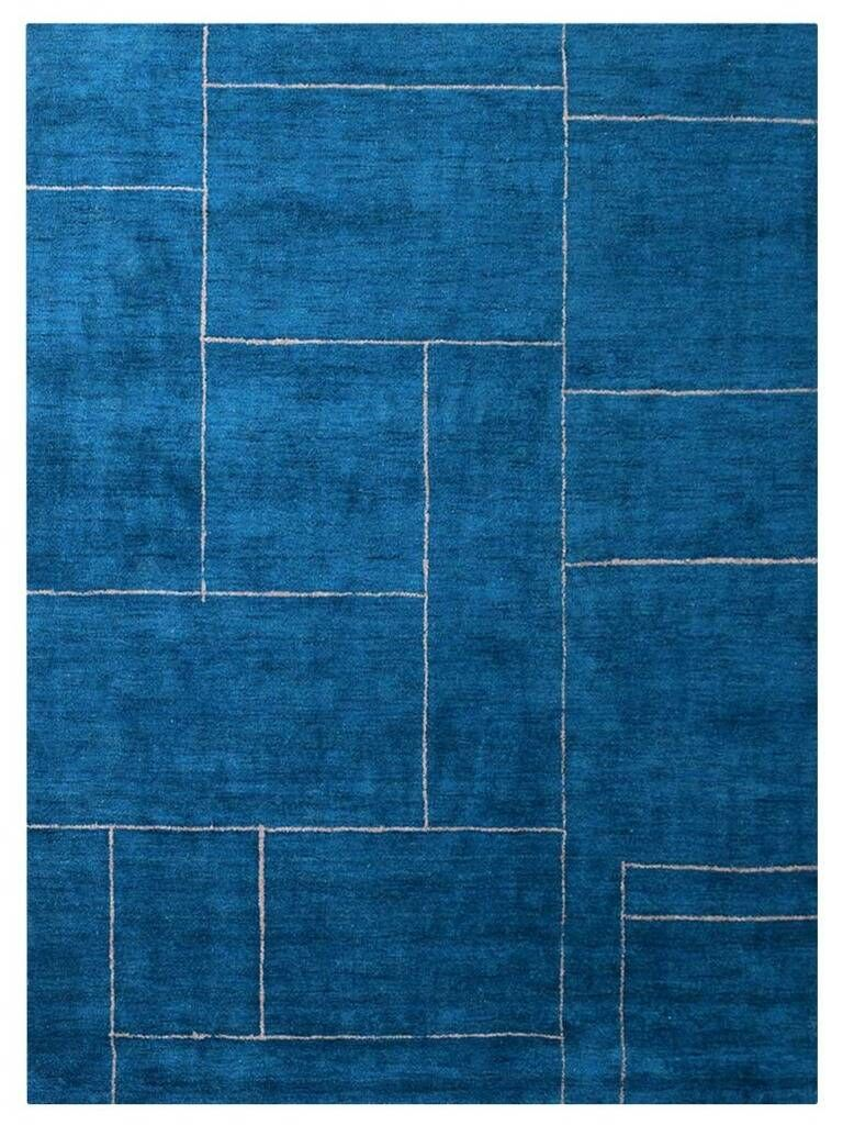 Savanah Gabbeh Hand-Knotted Silk Blue Area Rug Rug Size: Rectangle 8' x 10'