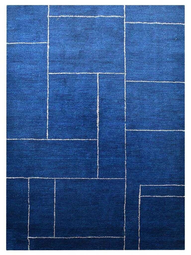 Janessa Gabbeh Hand-Knotted Silk Dark Blue Area Rug Rug Size: Rectangle 5' x 8'