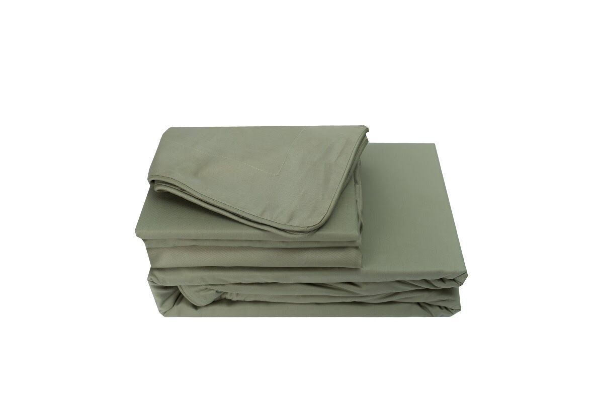 Versaille 300 Thread Count 100% Cotton Oversized Flat Sheet Size: Queen, Color: Willow Green