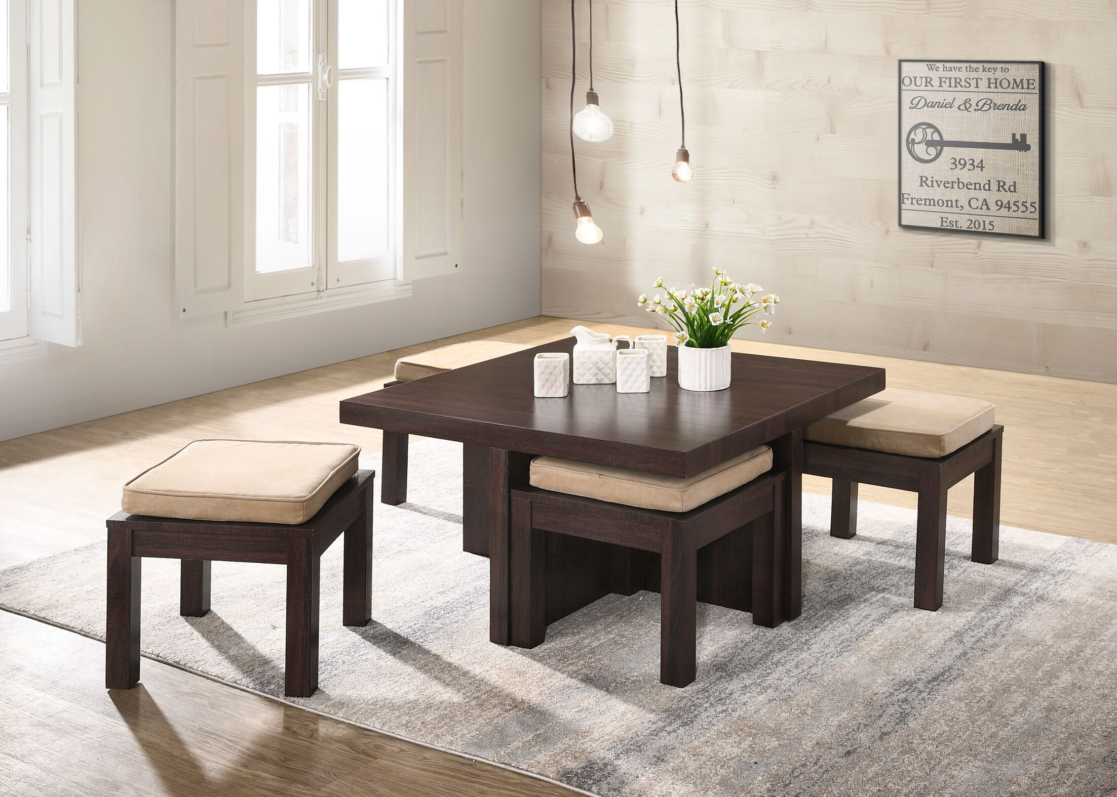 Mercedes Coffee Table with 4 Nested Stools
