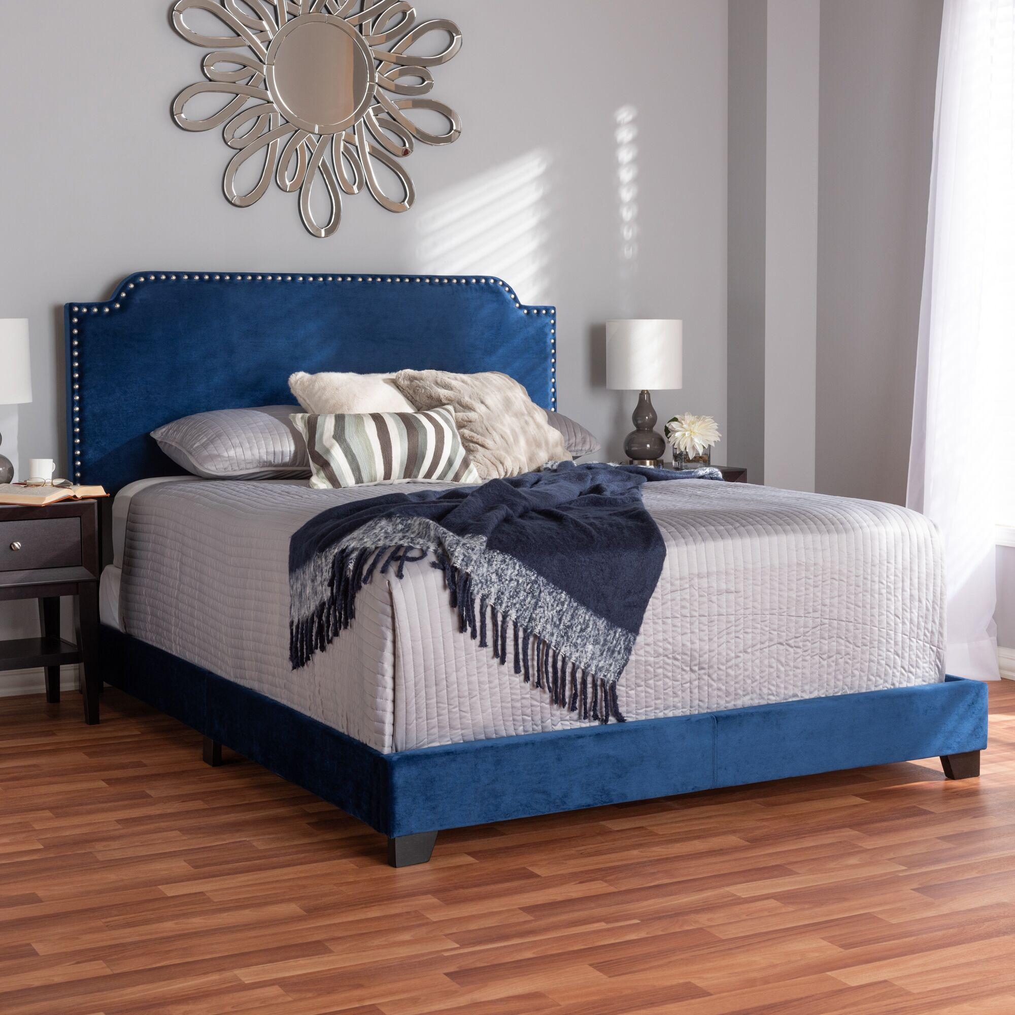 Voigt Upholstered Panel Bed Color: Navy Blue, Size: Queen
