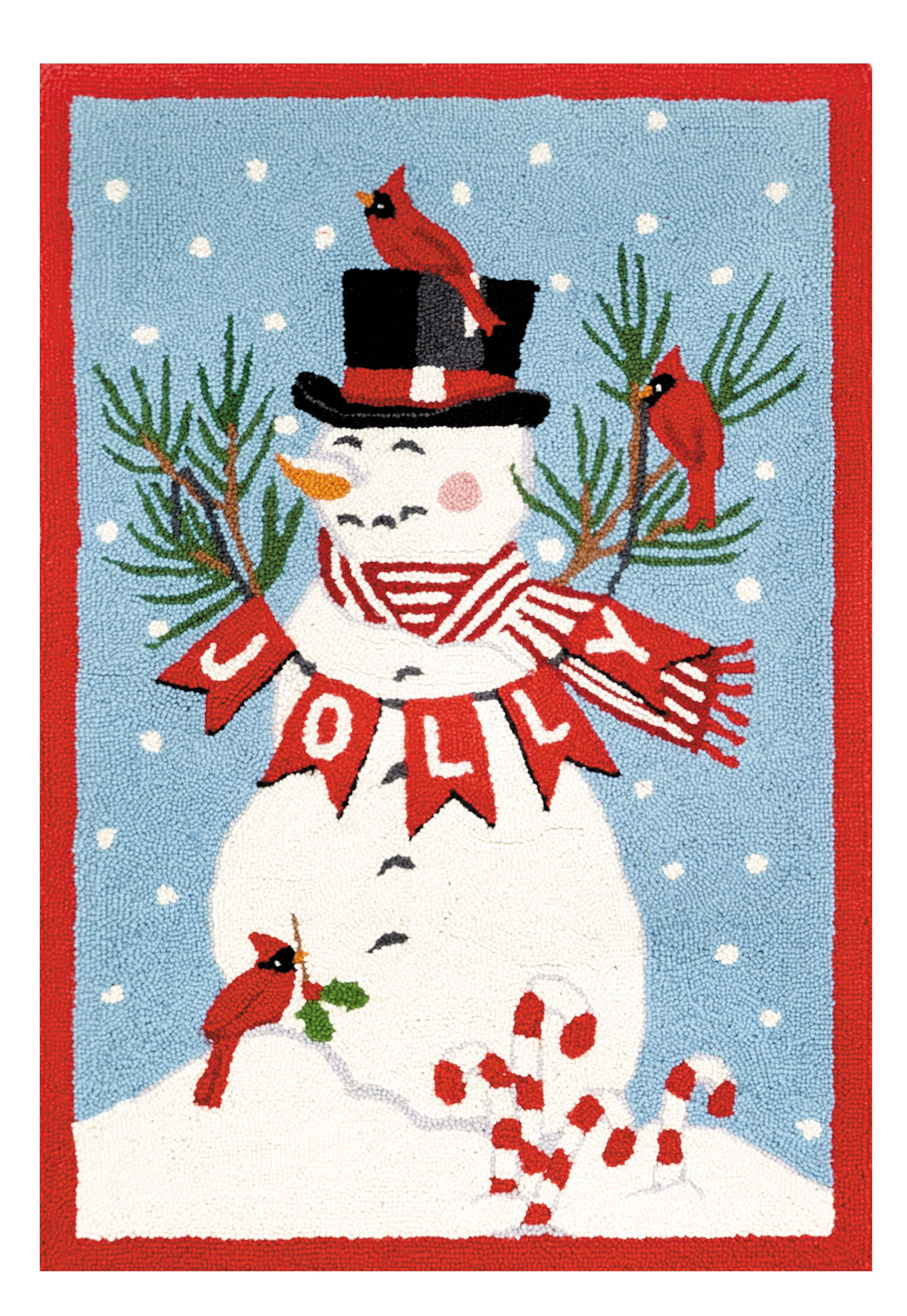 Cooper Snowman Hand-Hooked Wool/Cotton Red/Blue Area Rug