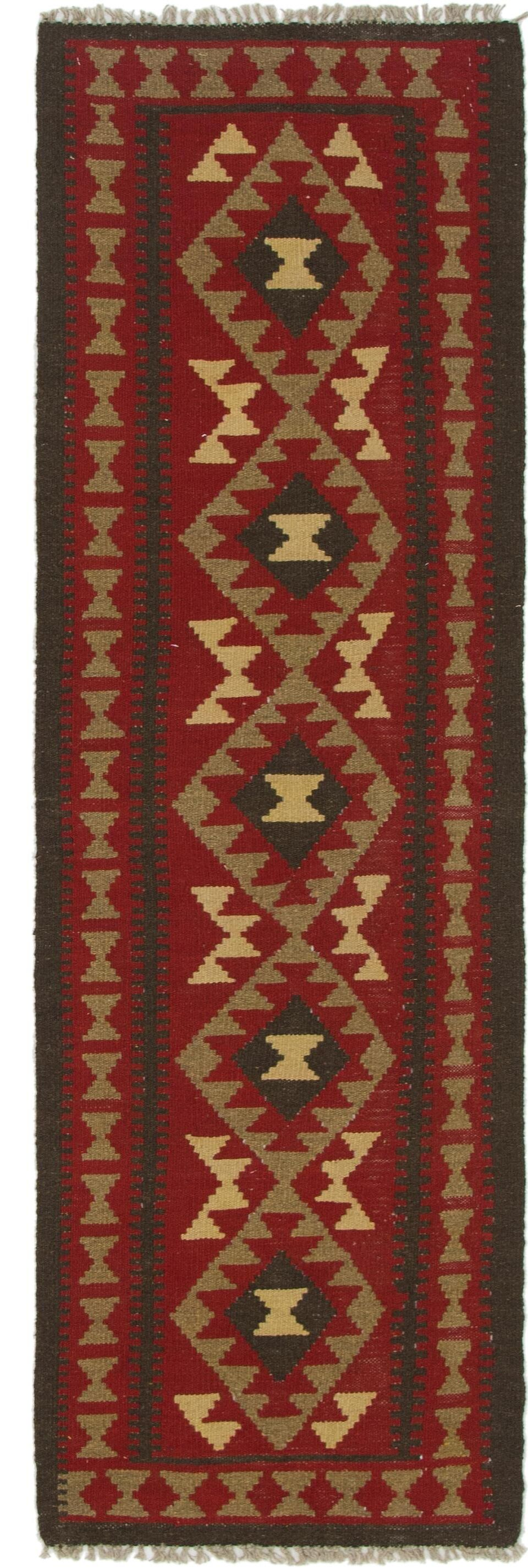 One-of-a-Kind Lorain Hand-Knotted Wool  2' x 7' Red/Brown Area Rug