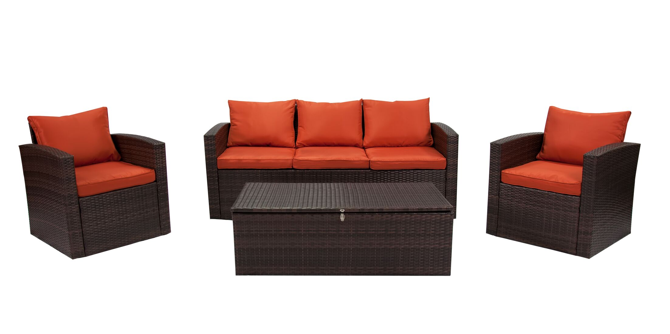 Marisa 7 Piece Rattan Sofa Seating Group Frame Finish: Brown, Fabric: Orange