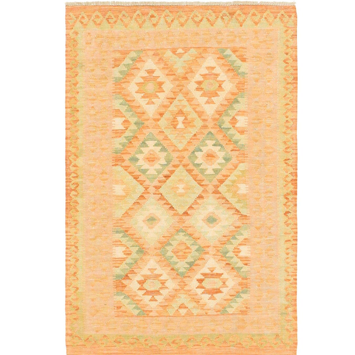 One-of-a-Kind Elland Hand-Knotted Wool Olive Area Rug