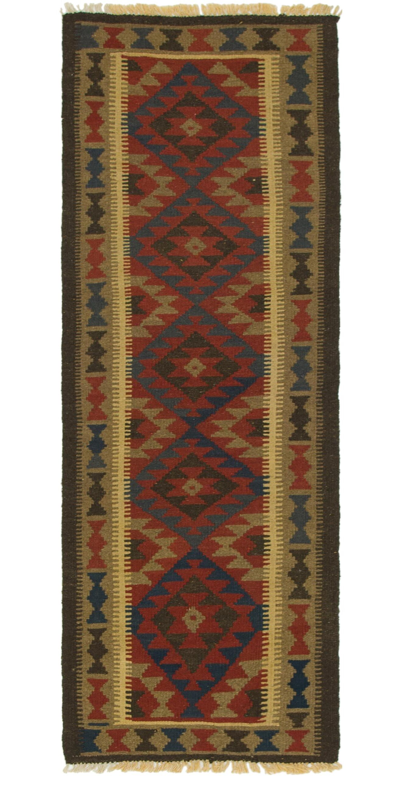 One-of-a-Kind Gillett Kilim Maymana Hand-Knotted Wool 2' x 6'2