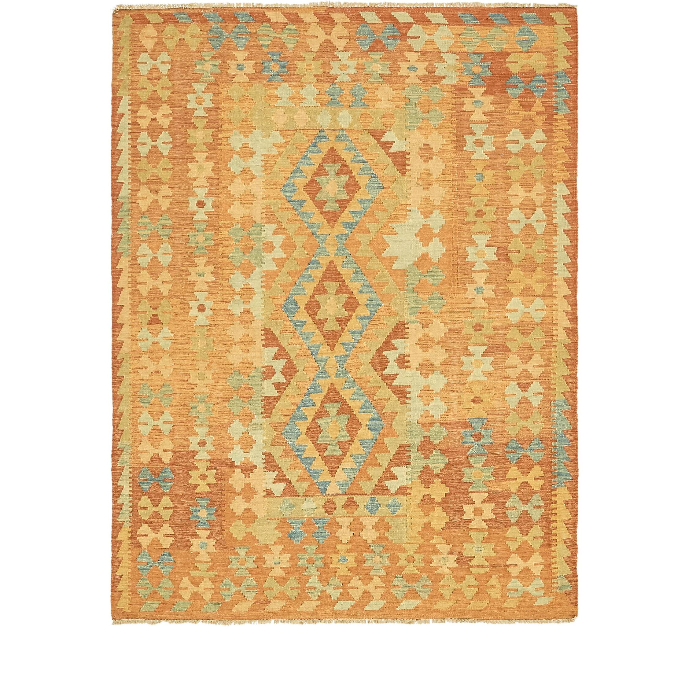 One-of-a-Kind Elland Hand-Knotted Wool Orange/Blue Area Rug