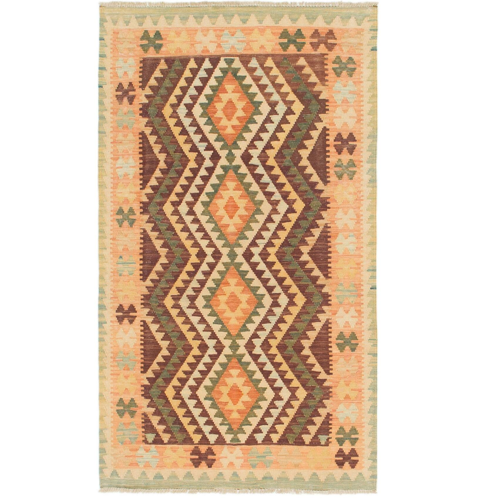 One-of-a-Kind Elland Hand-Knotted Wool Burgundy/Orange Area Rug