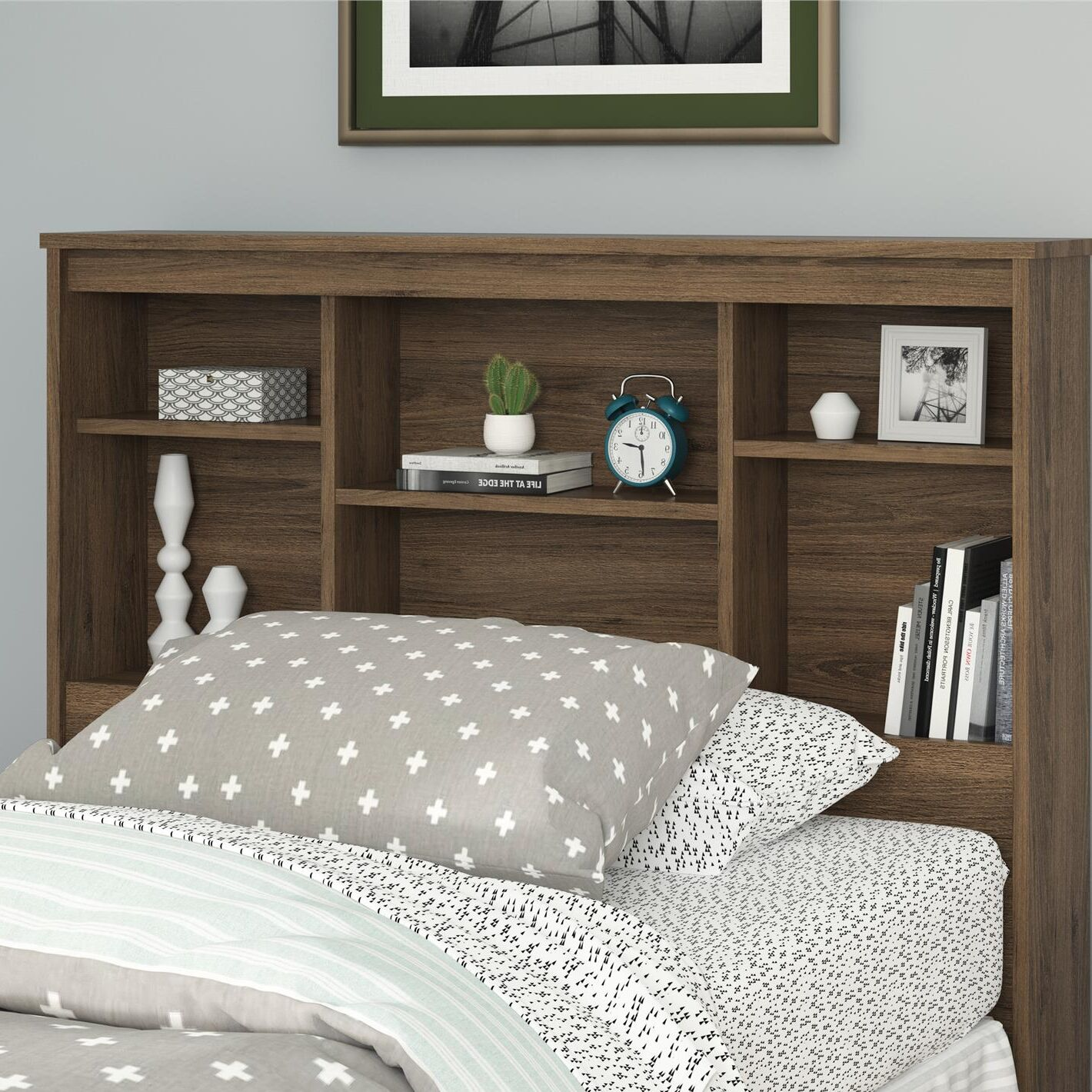 Warriner Twin Bookcase Headboard Color: Rustic Oak