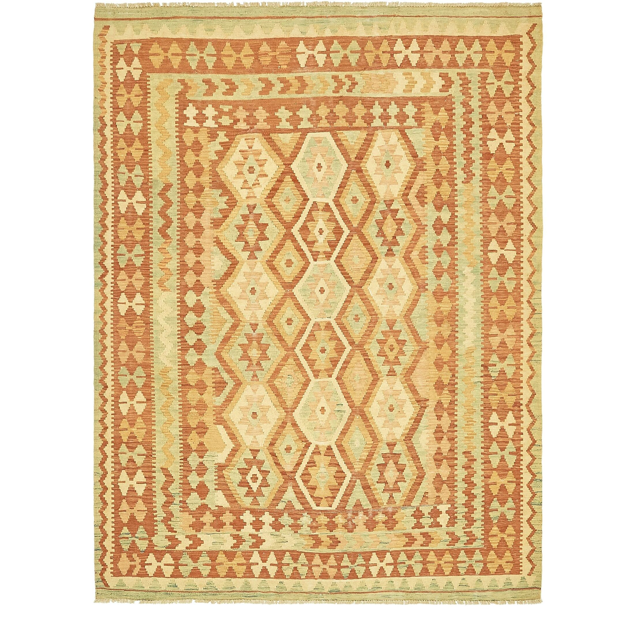 One-of-a-Kind Elland Hand-Knotted Wool Rust Red/Yellow Area Rug