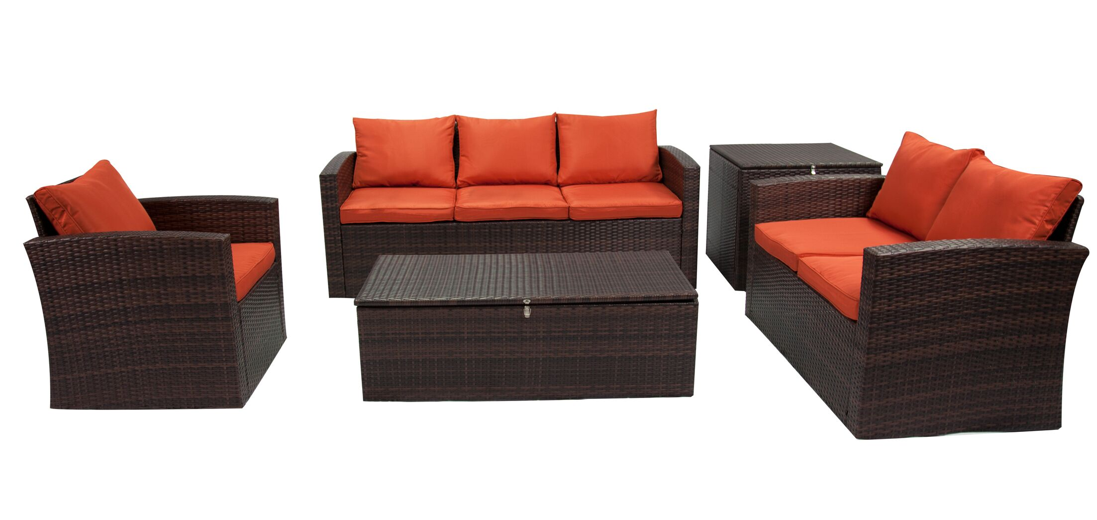 Marisa 5 Piece Rattan Sofa Seating Group Frame Finish: Brown, Fabric: Orange