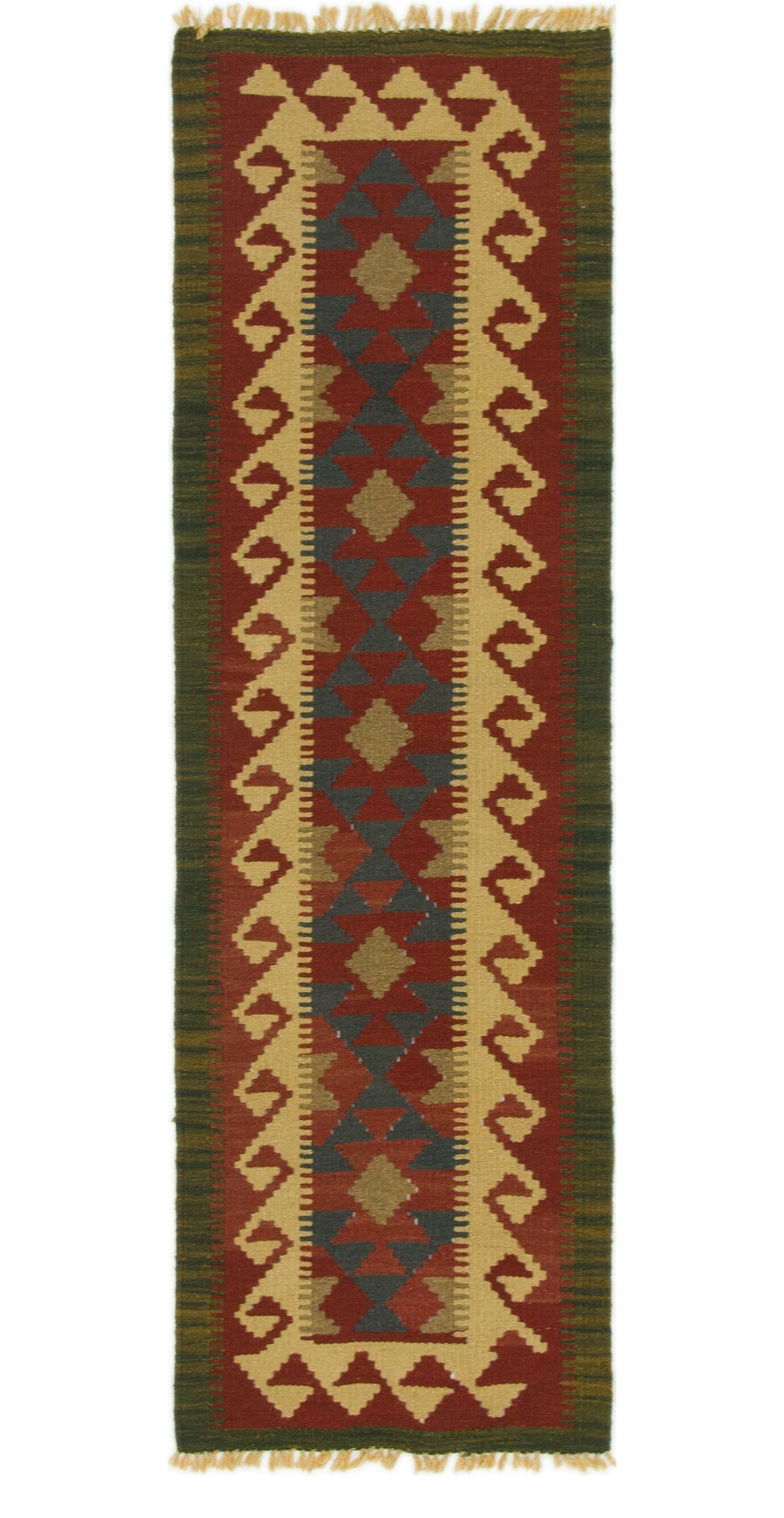 One-of-a-Kind Wilmar Kilim Maymana Hand-Knotted Wool 1'10