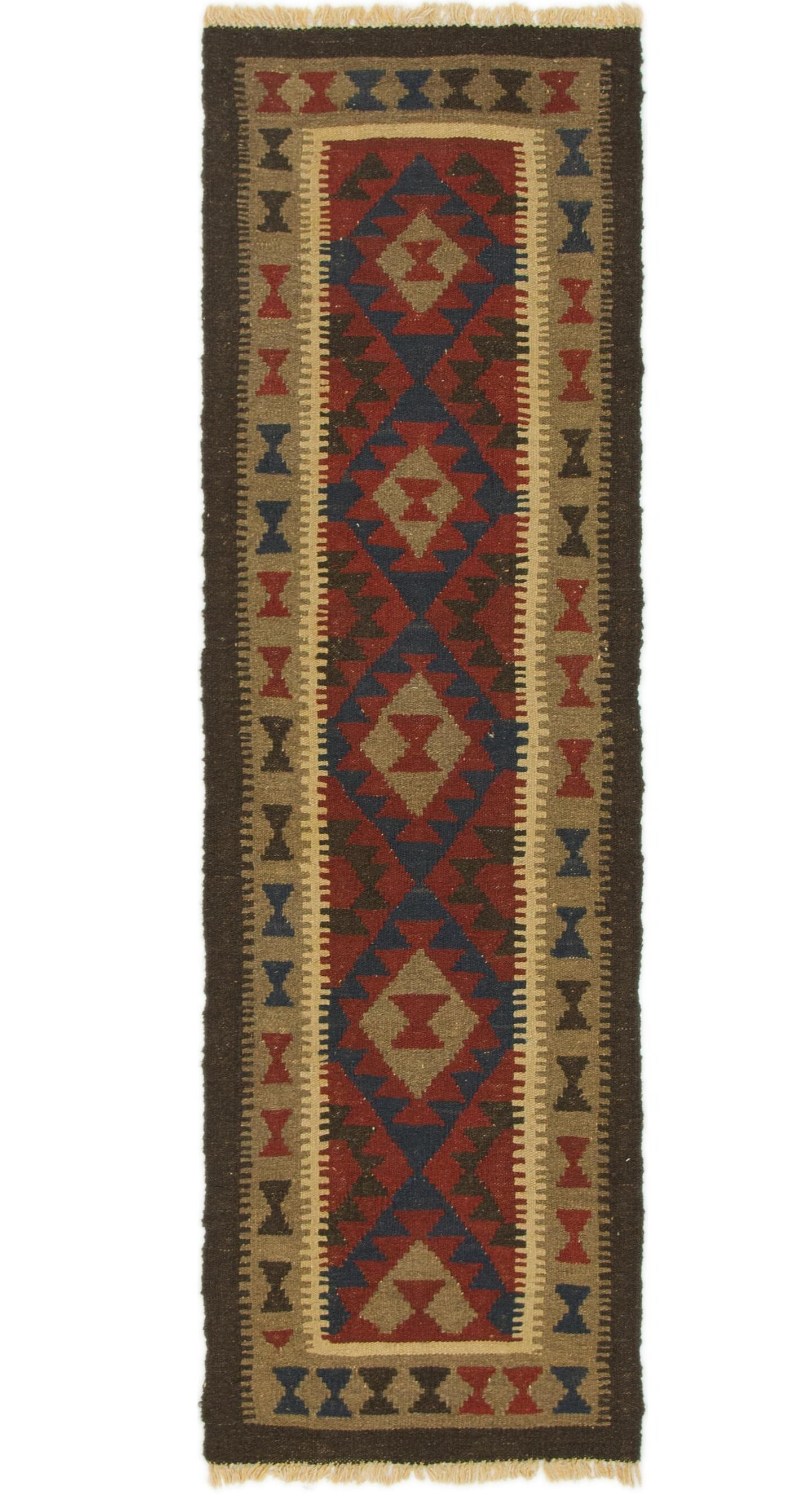 One-of-a-Kind Belleville Kilim Maymana Hand-Knotted Wool 2' x 6'7