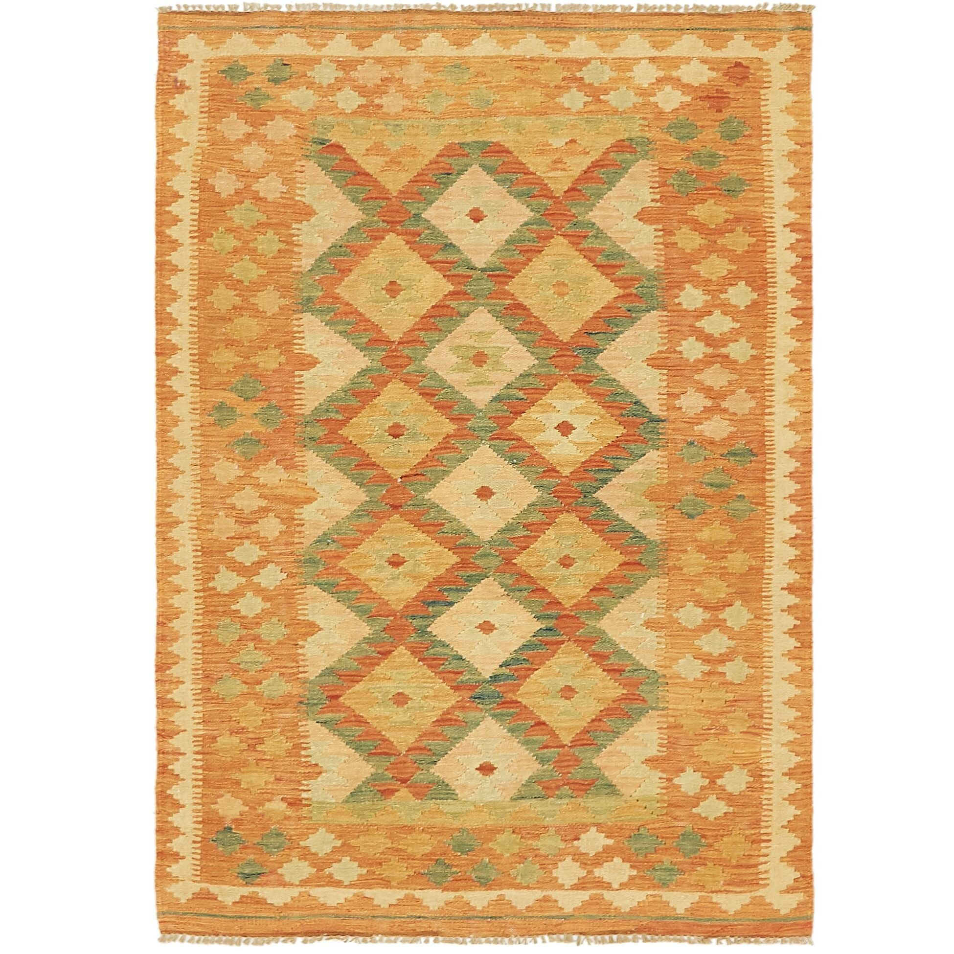 One-of-a-Kind Elland Hand-Knotted Wool Brown/Green Area Rug