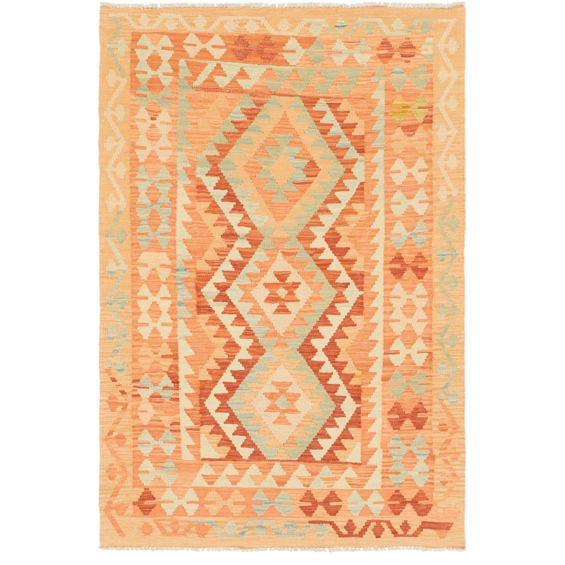 One-of-a-Kind Elland Hand-Knotted Wool Red/Orange Area Rug