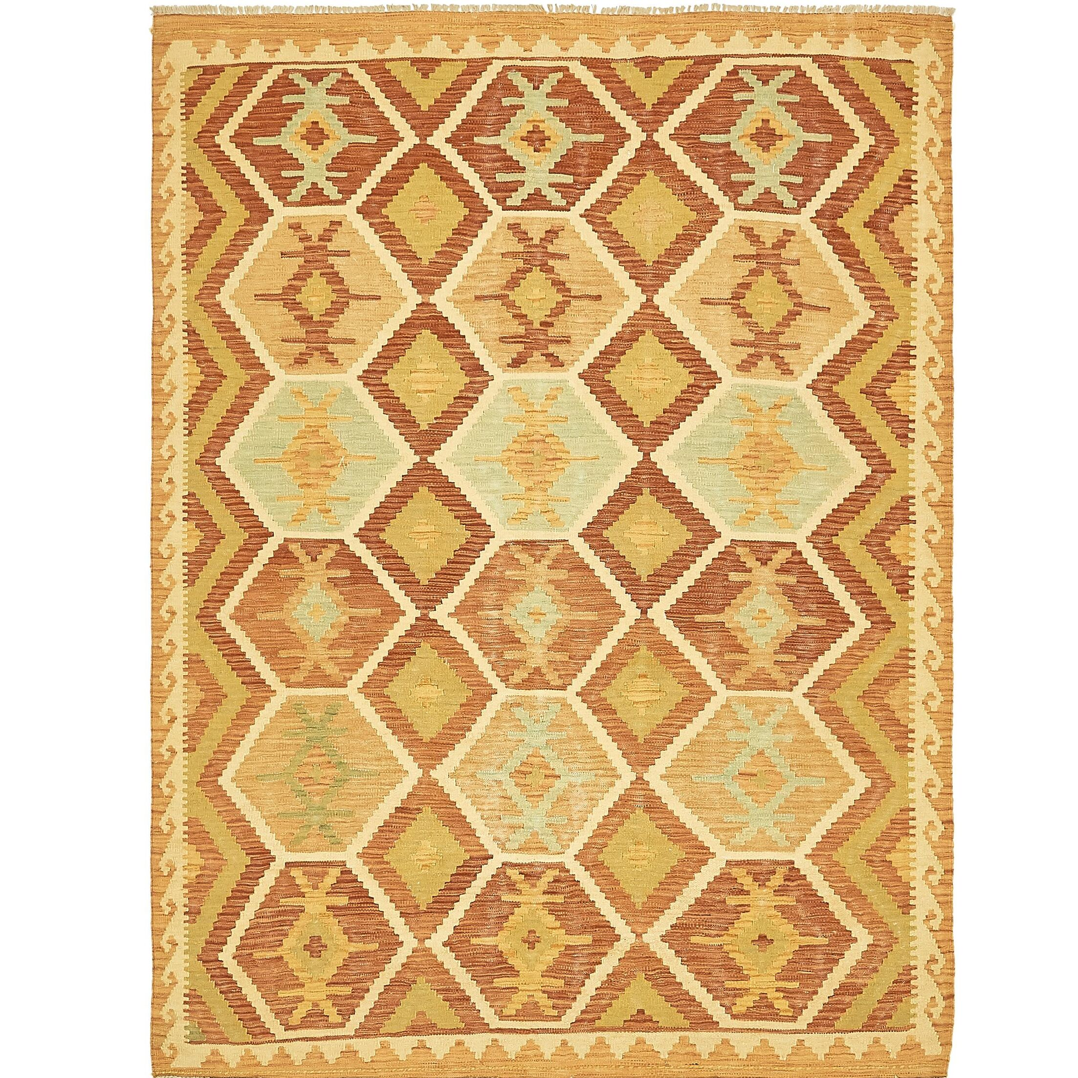 One-of-a-Kind Elland Hand-Knotted Wool Rust Red/Gold Area Rug