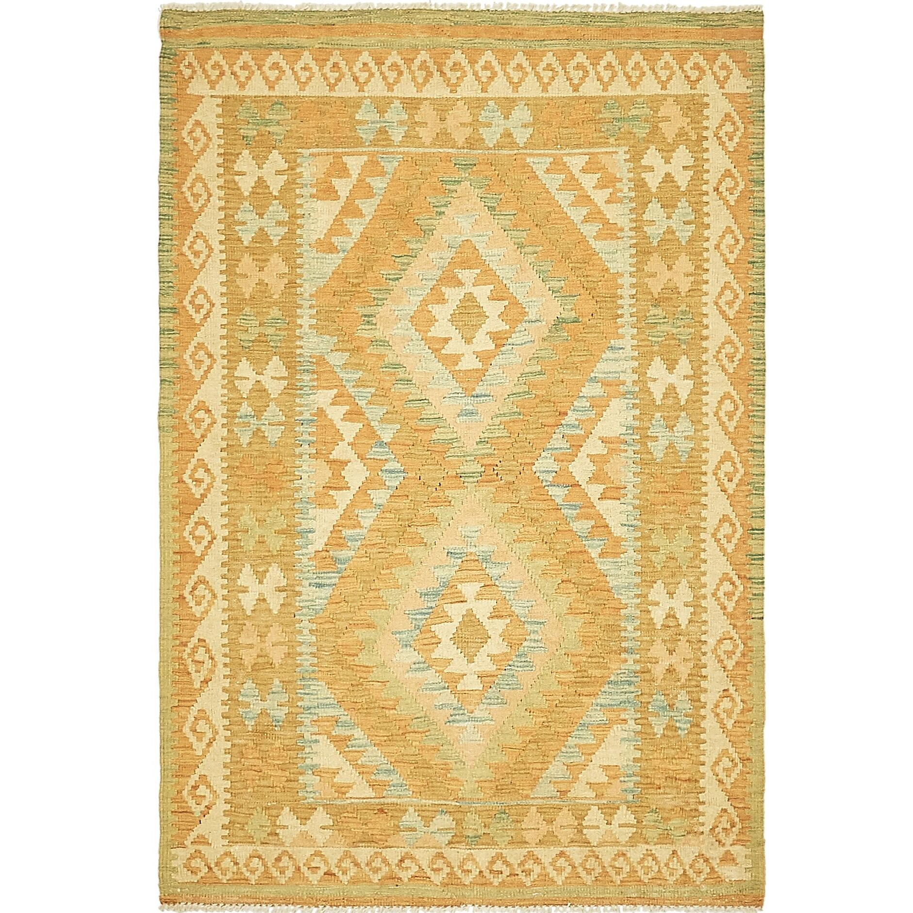 One-of-a-Kind Elland Hand-Knotted Wool Tan/Orange Area Rug