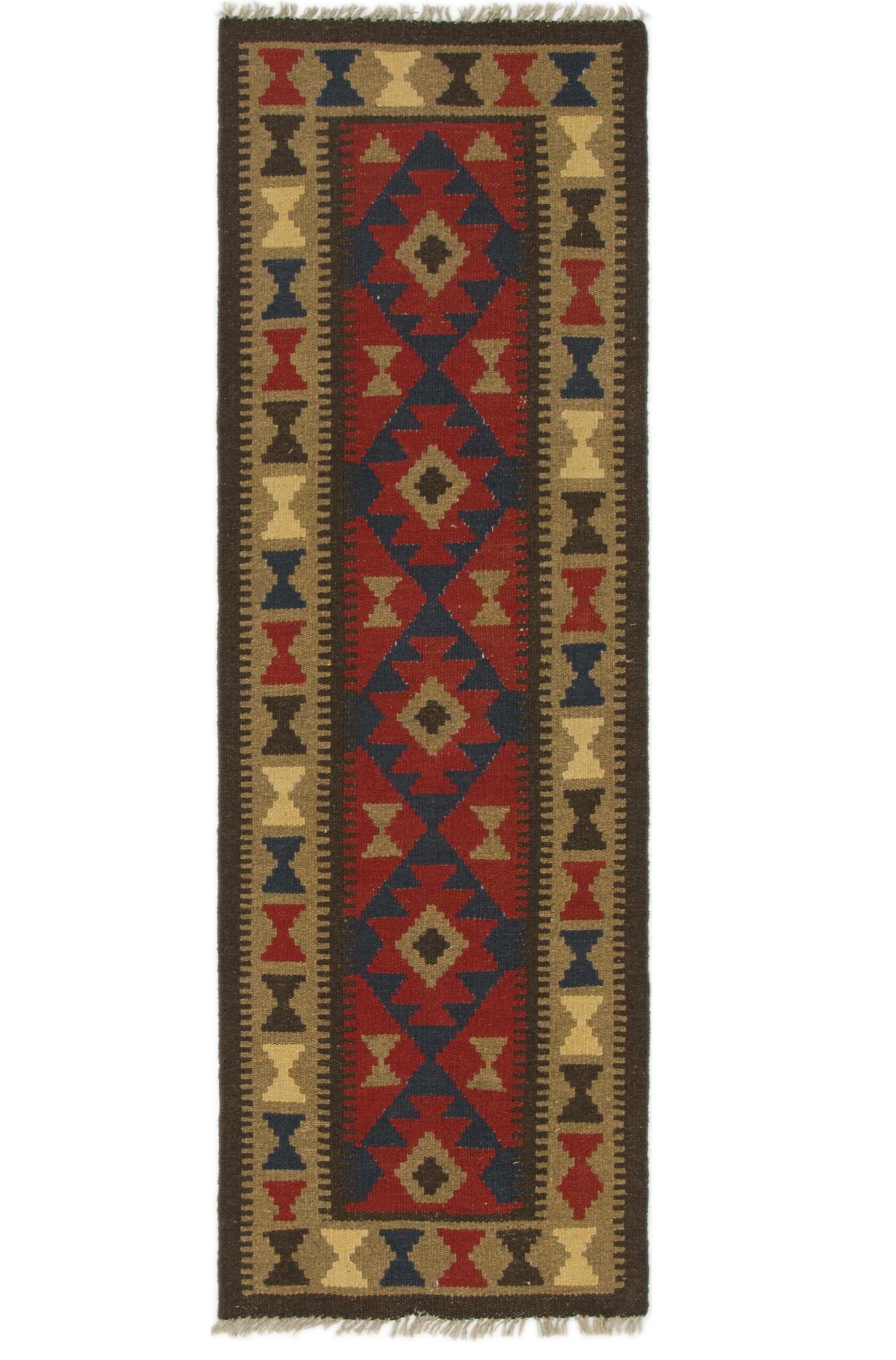 One-of-a-Kind Prattsville Kilim Maymana Hand-Knotted Wool 2' x 6'3