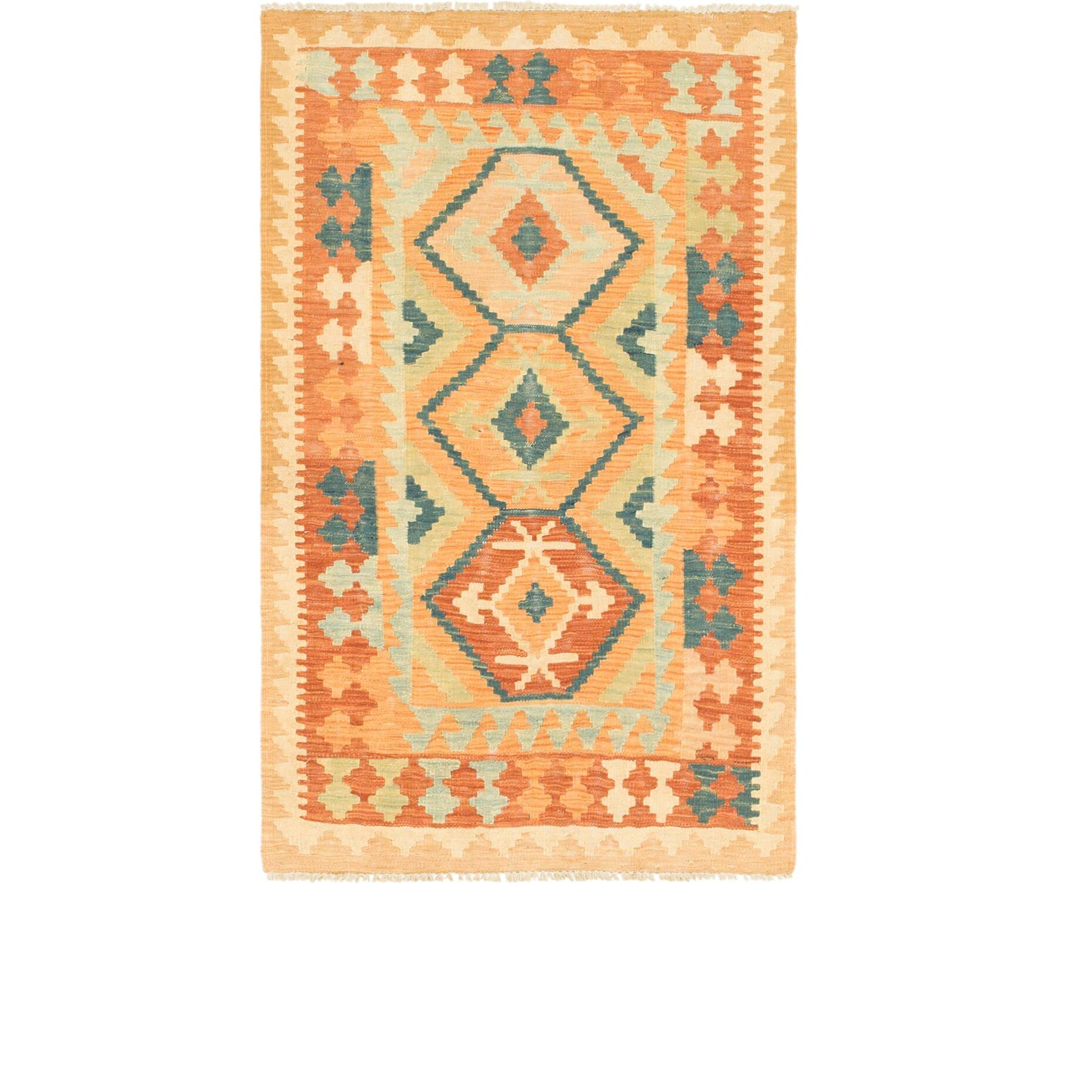 One-of-a-Kind Elland Hand-Knotted Wool Rust Red/Blue Area Rug