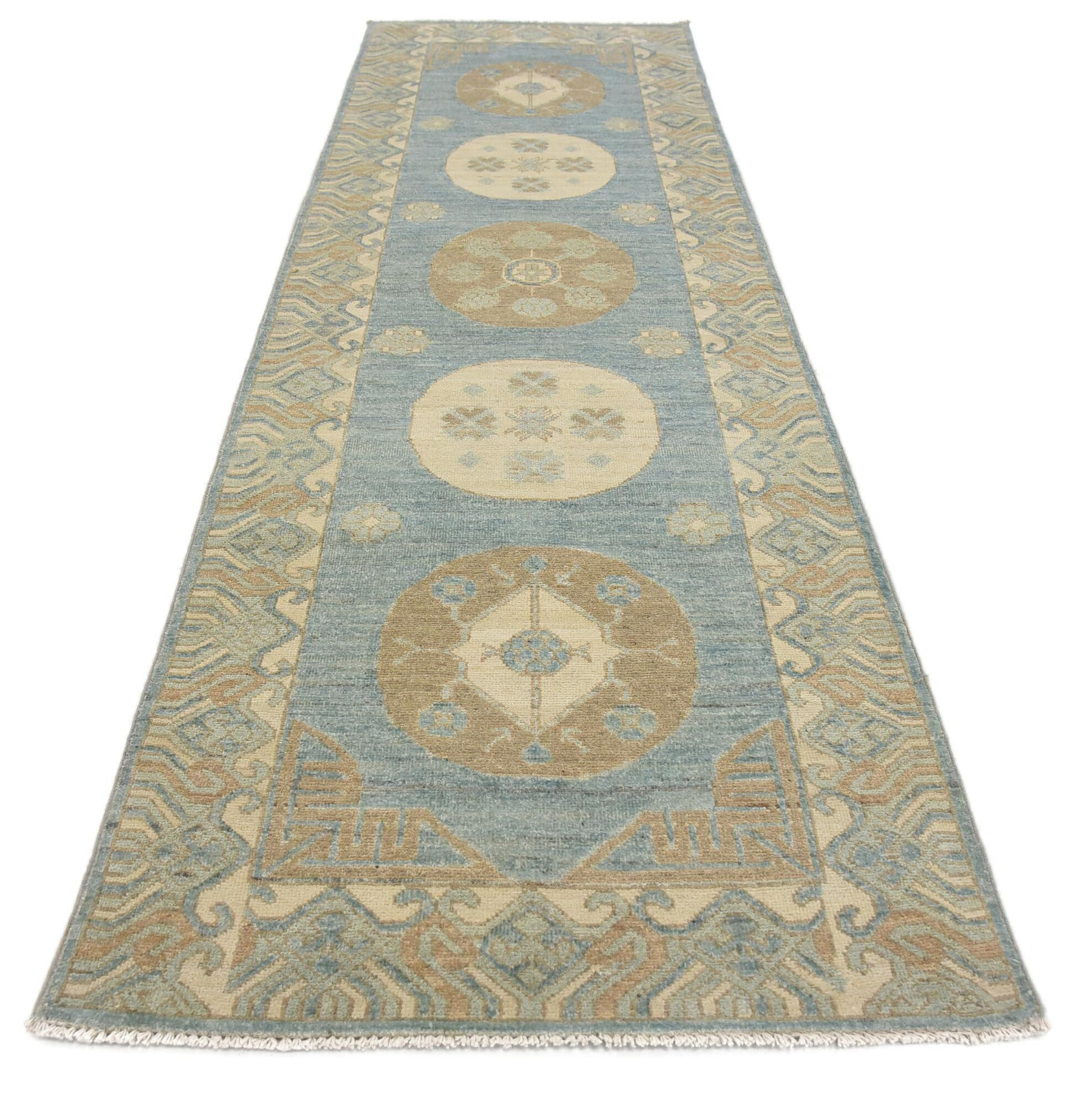 One-of-a-Kind Wareham Hand-Knotted Wool Blue/Green Area Rug
