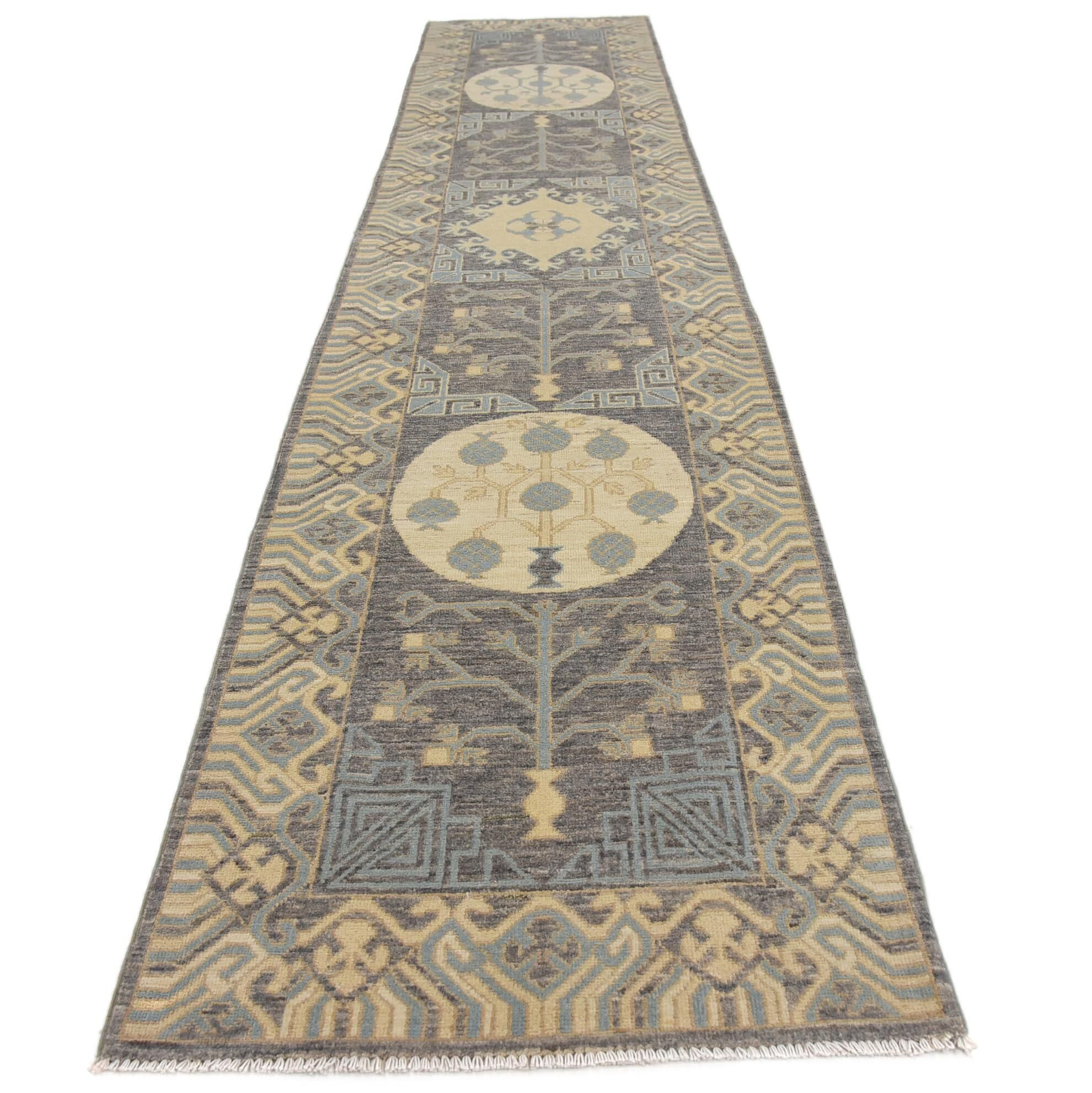 One-of-a-Kind Wareham Hand-Knotted Wool Gray/Beige Area Rug