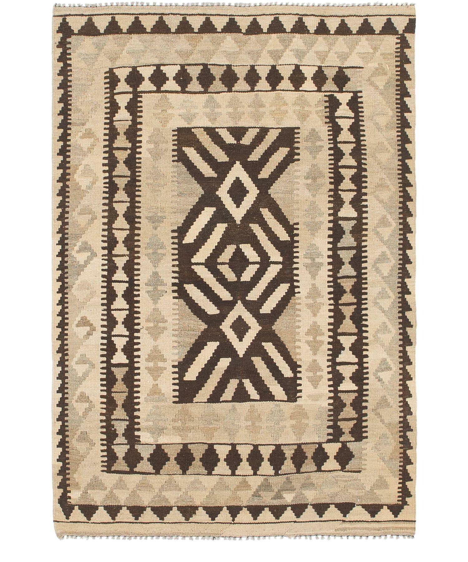 One-of-a-Kind Omaha Kilim Maymana Hand-Knotted Wool 3'5