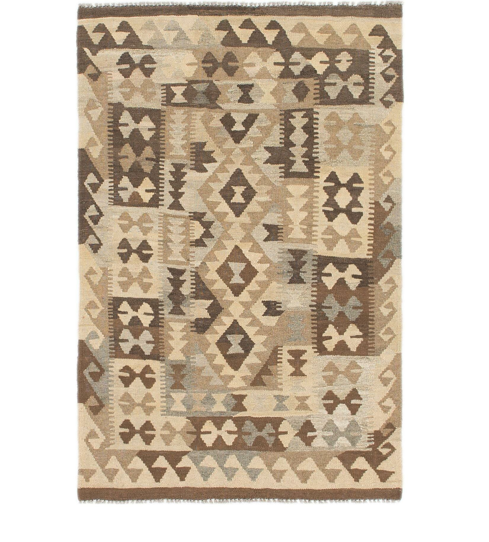 One-of-a-Kind Willisville Kilim Maymana Hand-Knotted Wool 3'3