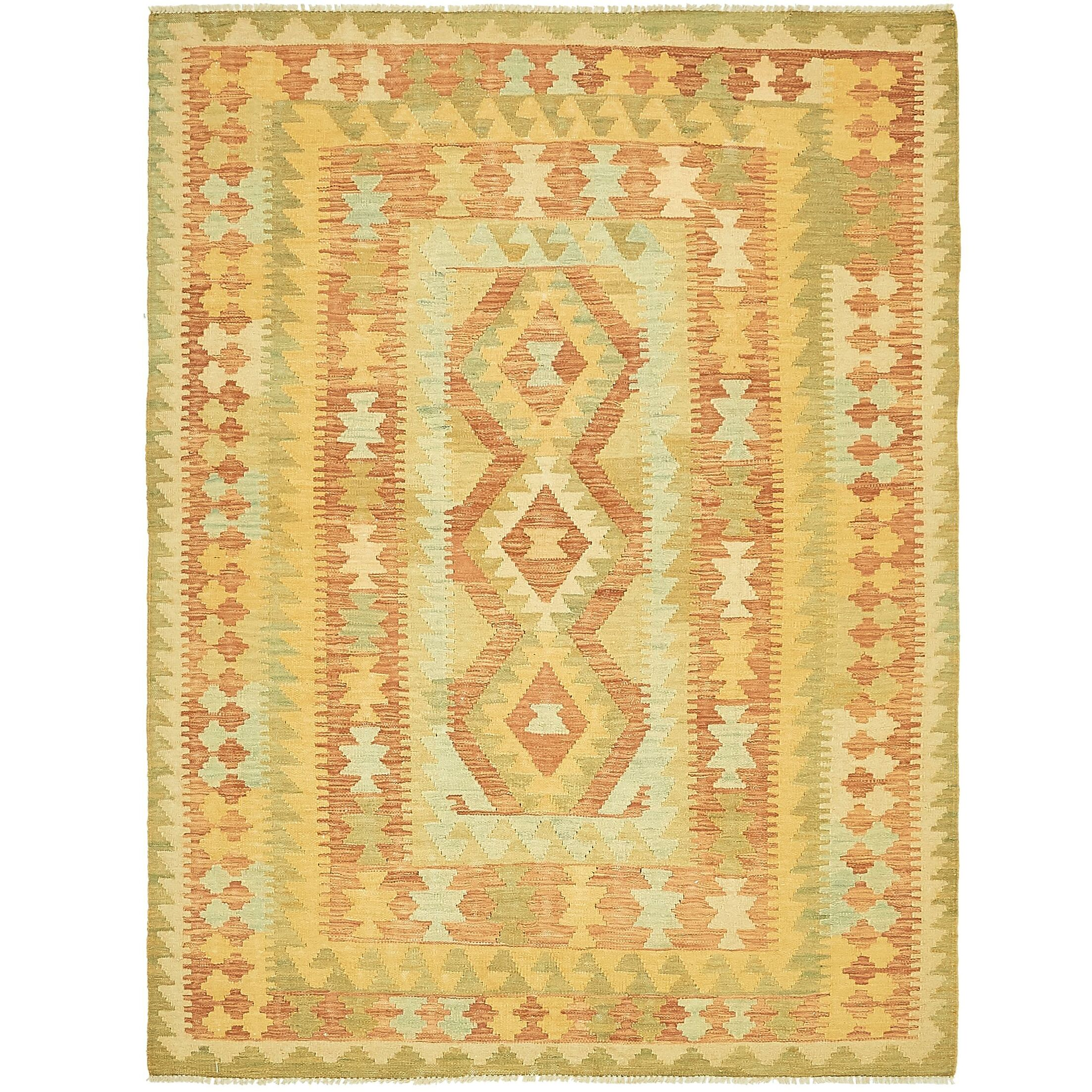 One-of-a-Kind Elland Hand-Knotted Wool Light Green/Brown Area Rug