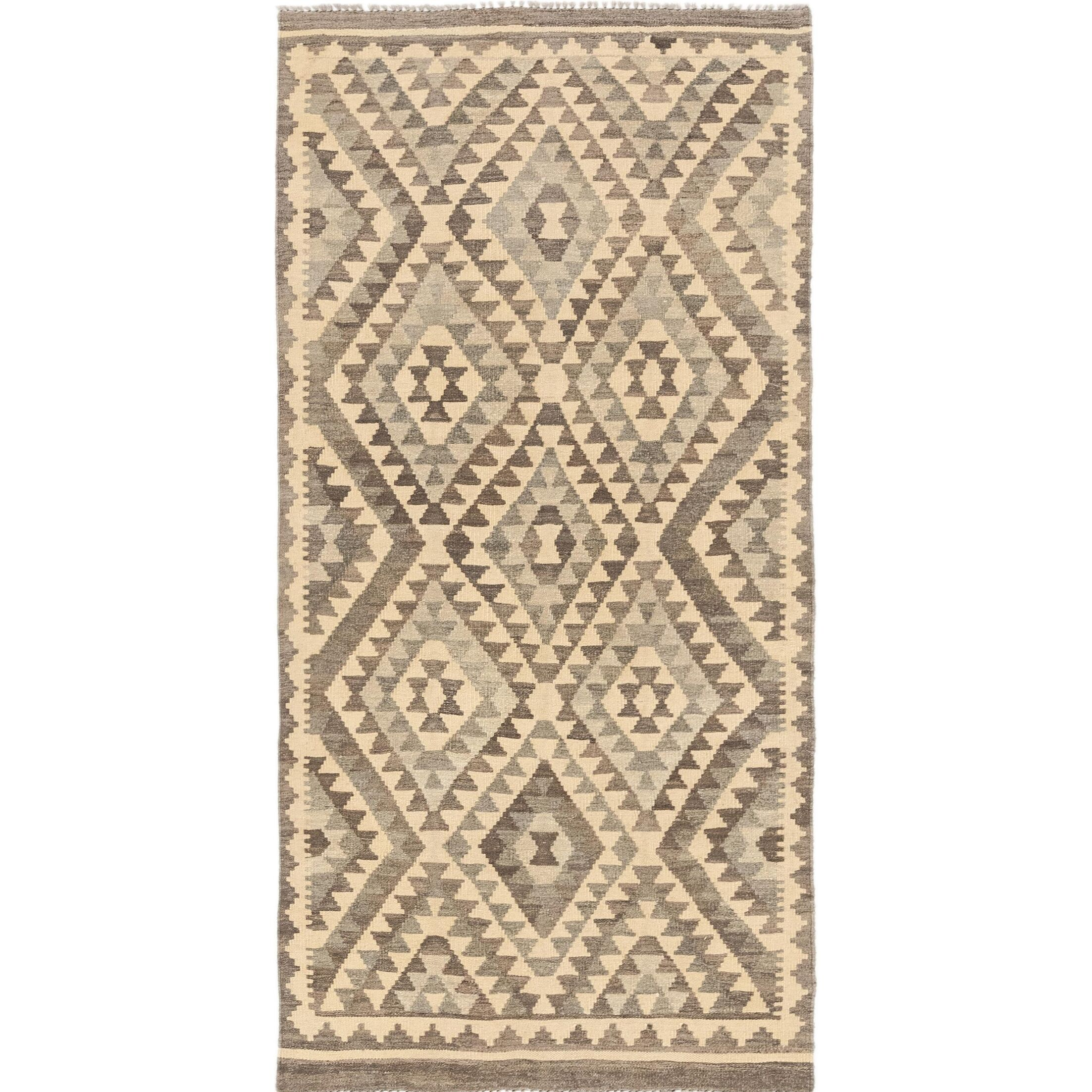 One-of-a-Kind Elland Hand-Knotted Wool Cream Area Rug
