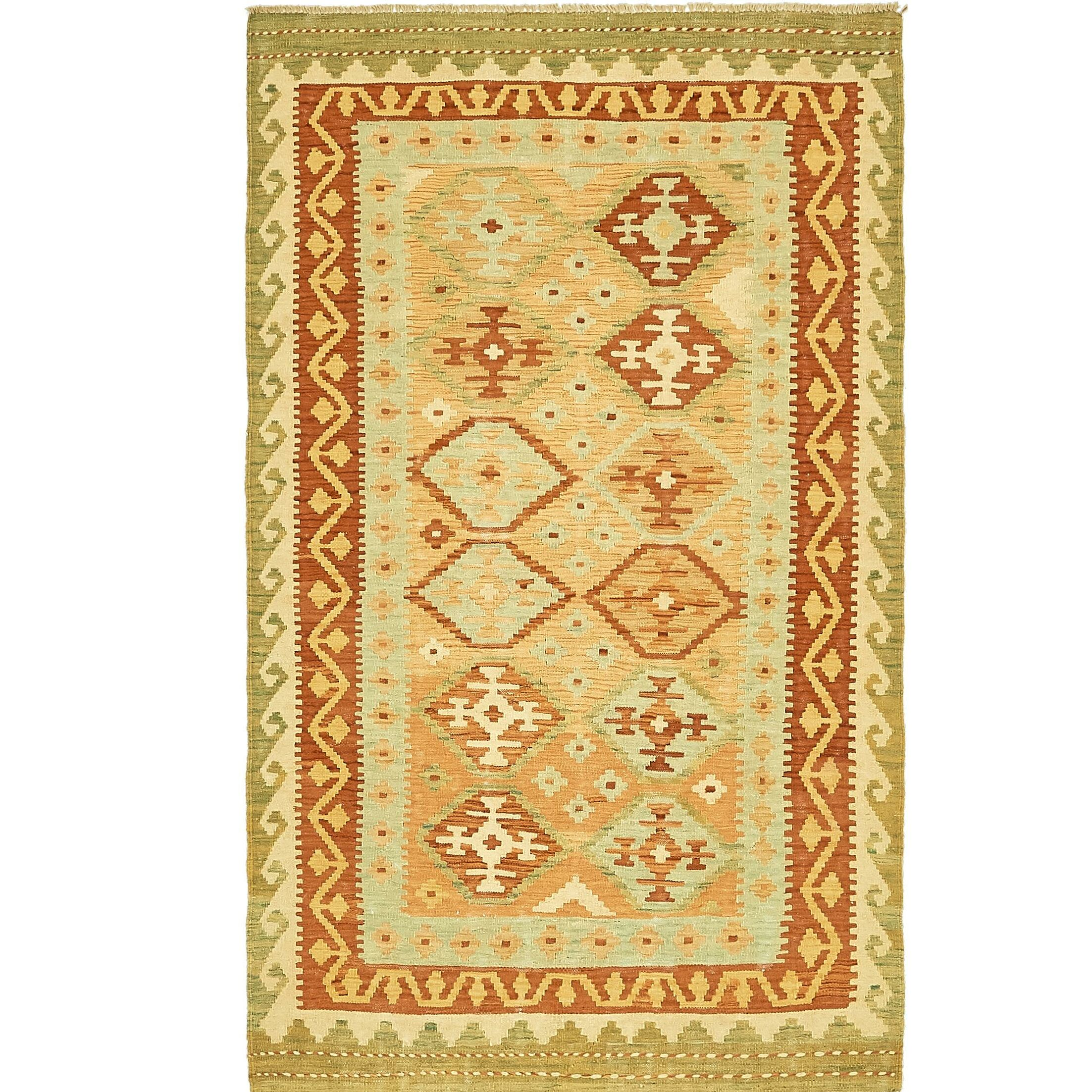 One-of-a-Kind Elland Hand-Knotted Wool Red/Gree/Beige Area Rug